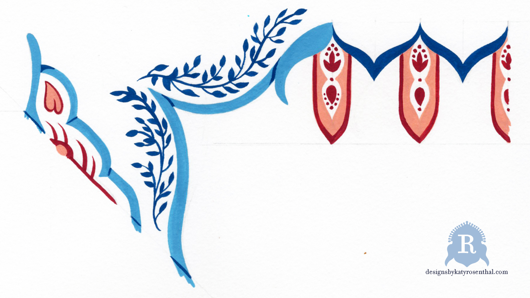 My gouache painting for an original border design inspired by the above research.