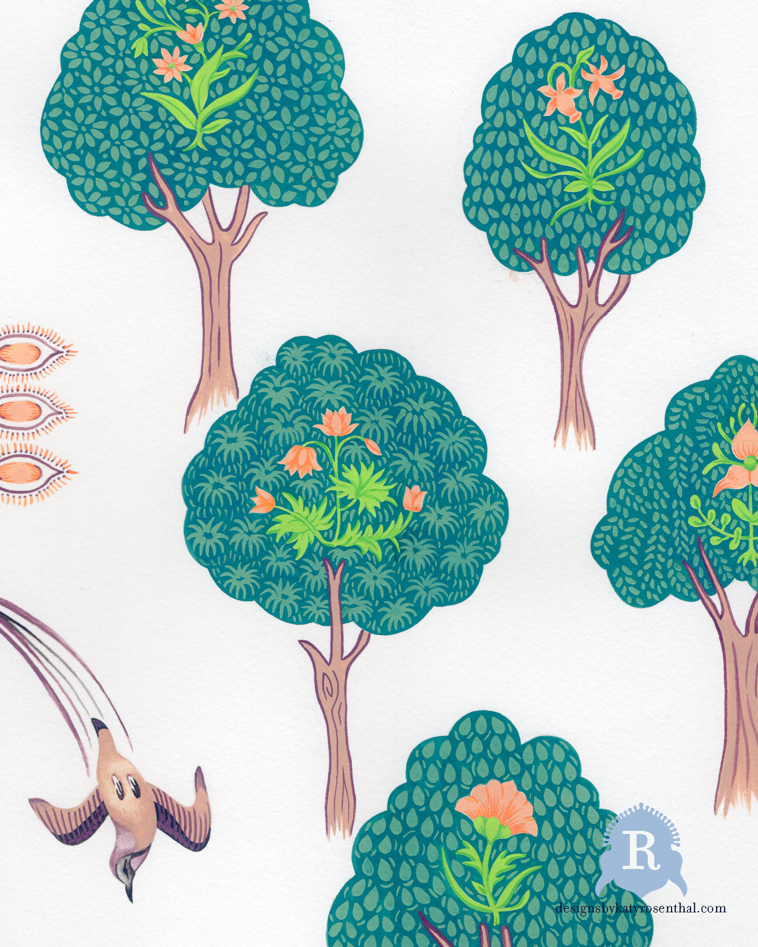 A cropped section of my original paintings that were then scanned in and arranged to create the design for The 'Chai Botanical' Scarf.