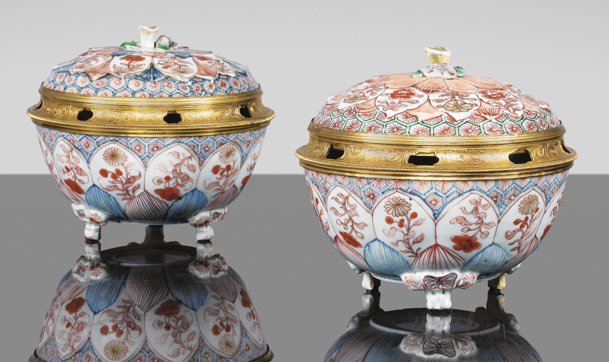 Two Imari Chinese porcelain pots-pourris with engraved gilt-bronze mounts, circa 1720. Sotheby's.