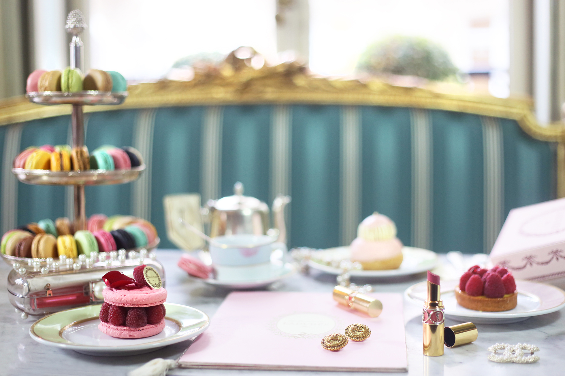 A table scene at Ladurée Paris's afternoon tea.  From Margo & Me .