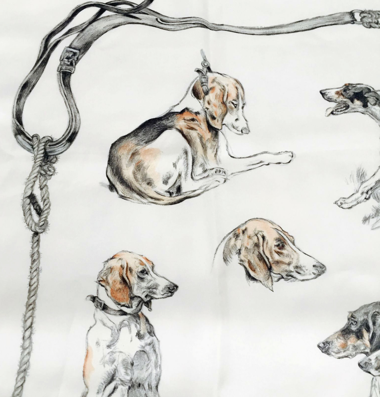 Detail of the upper left corner of Hermès's 'Chien de Meute' scarf.