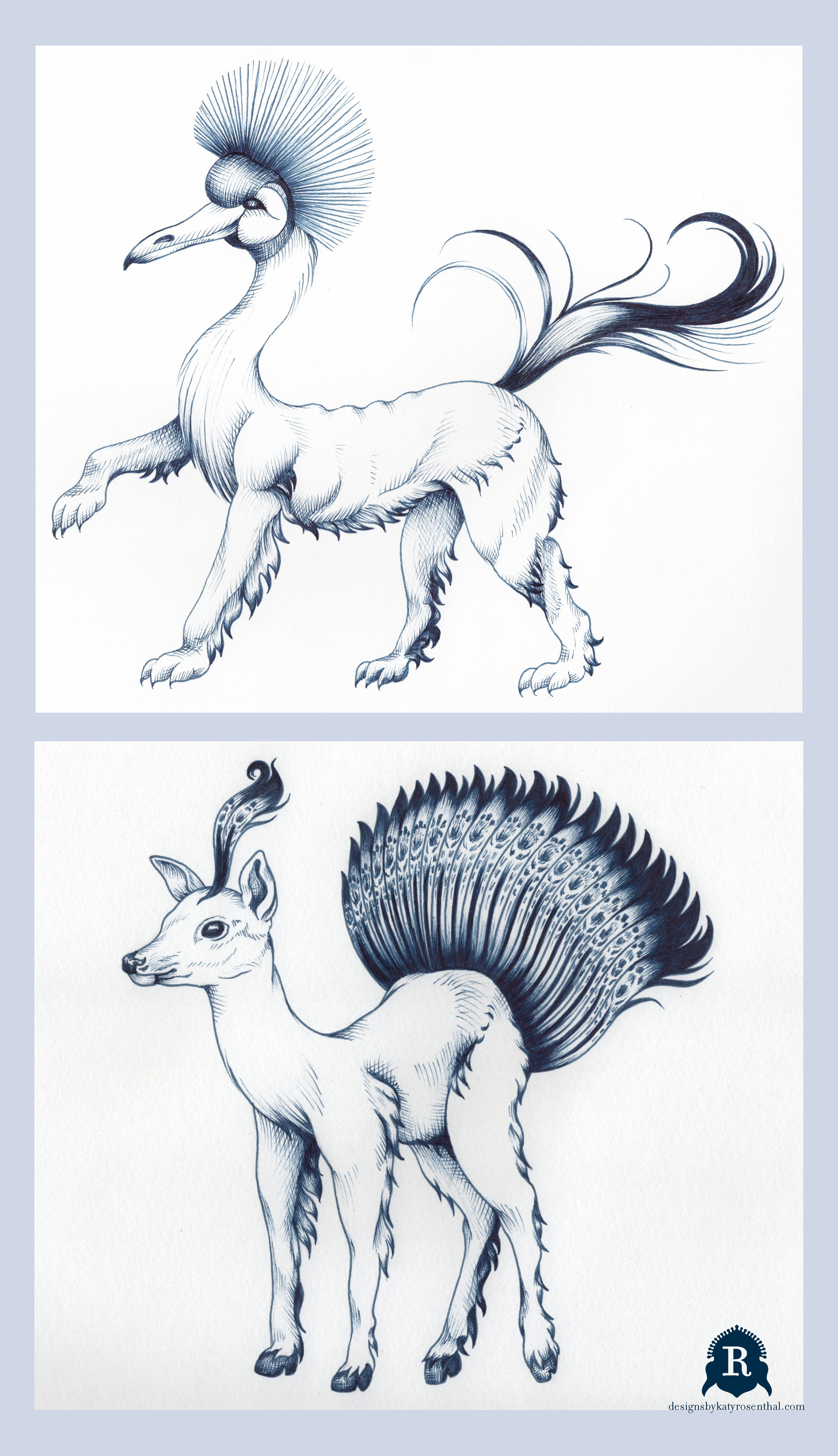 """My original drawings for my invented """"mythological"""" creatures. On top, """"Bendira,"""" and on bottom, """"Cleofin."""" Bendira is a composite of a Red Crowned Crane's head, a lion's body (styled after how lions were typically illustrated in engravings from the 16th century, the time period during which most of the maps I was looking to for reference were made), and a horse's tail. Cleofin is a deer (stylized in the same manner) with a tail and plume inspired by those of a peacock."""