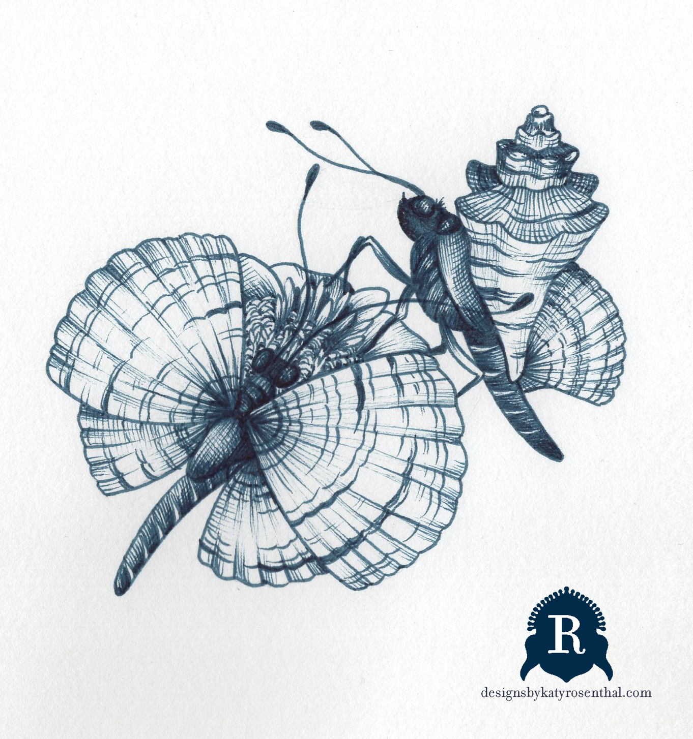 """The original drawing for my invented creature, """"Nymra,"""" which are essentially butterflies whose wings are composed of seashells."""