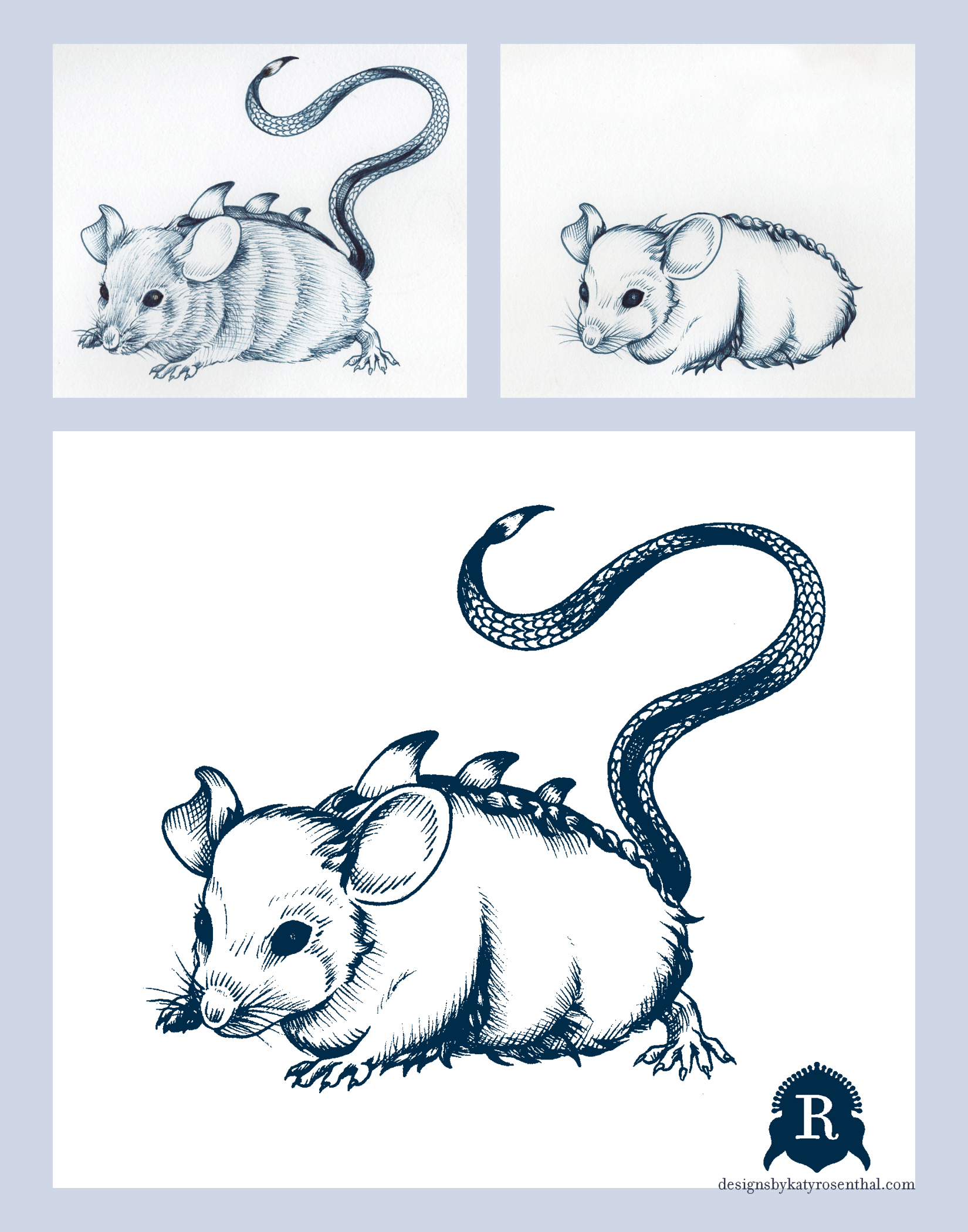 """The process for creating """"Tionae,"""" my invented take on a mythological mouse with the horn-ridged back and scaly tail familiar to the lore of dragons. In the first drawing, I was happy with the general shape and the invented, dragon-like elements, but not with the rendering of the fur. I traced over the original and redrew the aspects I felt needed changing,splicing the two drawings together on Photoshop to achieve the final version shown on the bottom."""