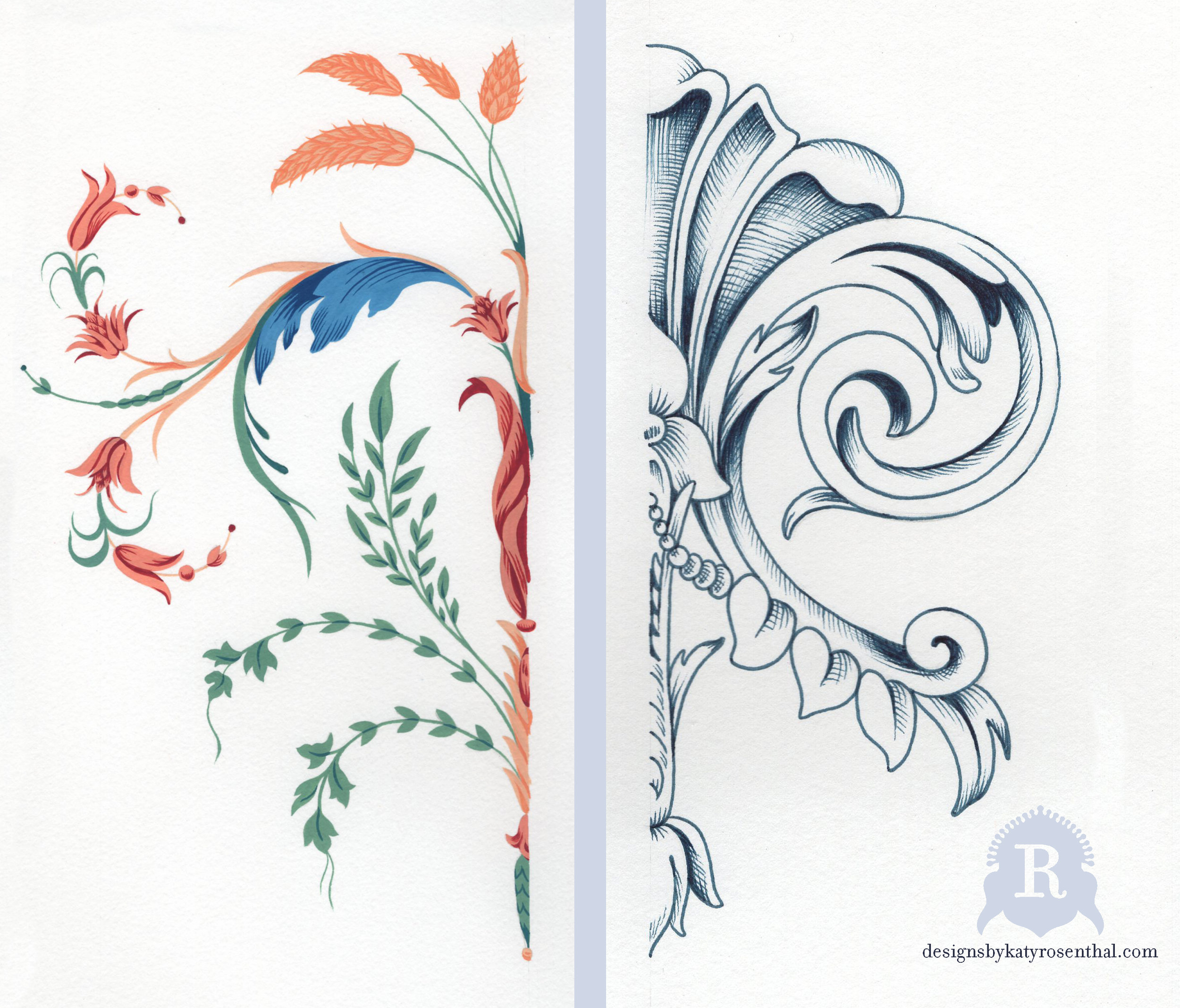 Original motifs I created for the 'Compass Rose' scarf design. As both elements were intended to be symmetrical, I rendered them in halves and mirrored them on Photoshop. On left, a multi-colored decorative element drawn from the Regency style. On right, a more generally Neoclassical design inspired by three-dimensional architectural embellishments.