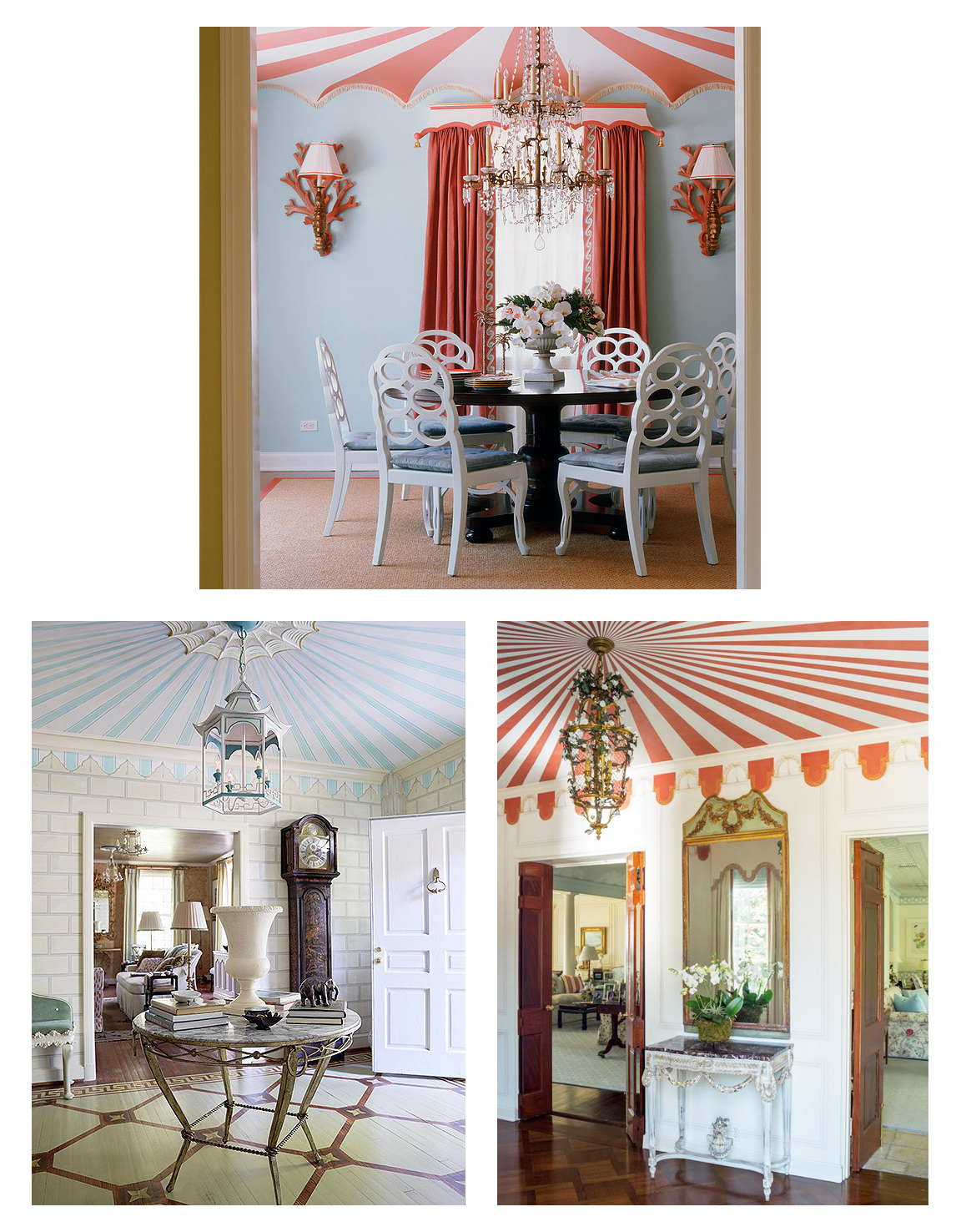 Top: A Palm Beach home by Richard Keith Langham. Bottom Left: The North Carolina Regency revival home of Jason Oliver Nixon and John Loecke of  Madcap Cottage . Image from  Zsa Zsa Bellagio . Bottom Right: A 1930s revival designed by Leta Austin Foster, image from  The Glam Pad