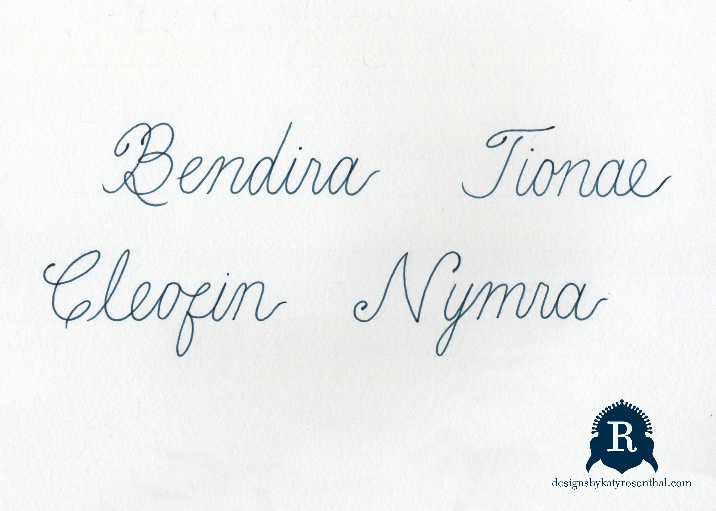 The original scan of my handwritten lettering, naming each of my invented creatures.