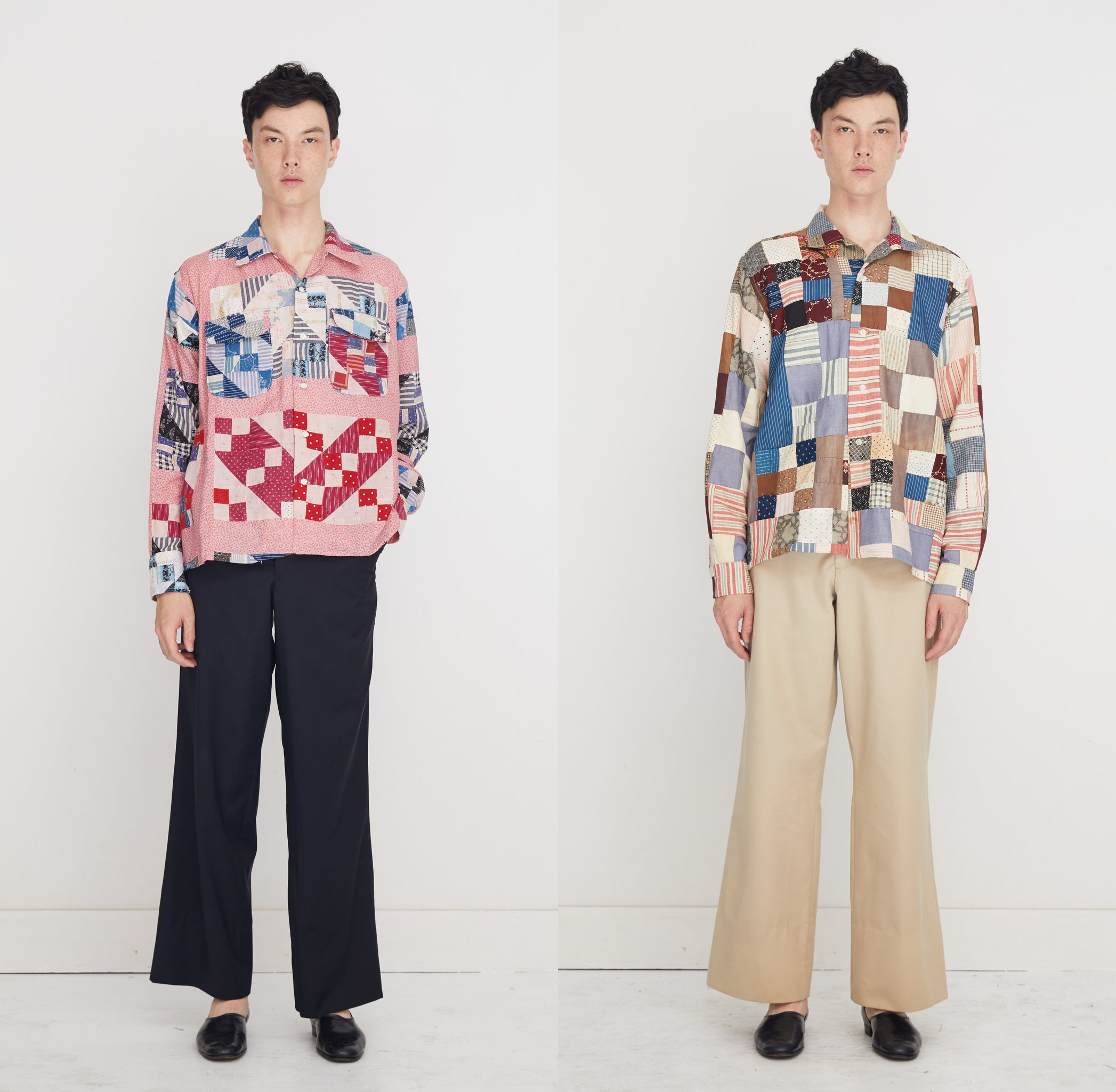 Patchwork quilt shirts currently for sale from Bode. Left: made from a pre-1940s anvil quilt, popular in the 1890s to celebrate a common tool of the trades at the time. Right: made from late 1800s calico and stripe quilt top fabric.