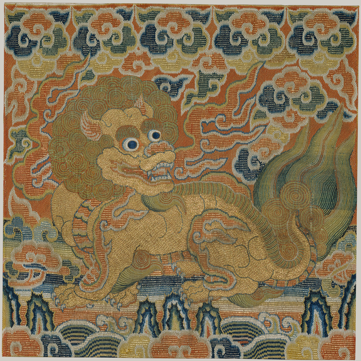 A lion badge (2nd military rank) from the 15th century, Ming dynasty. In the collection of the Metropolitan Museum of Art.