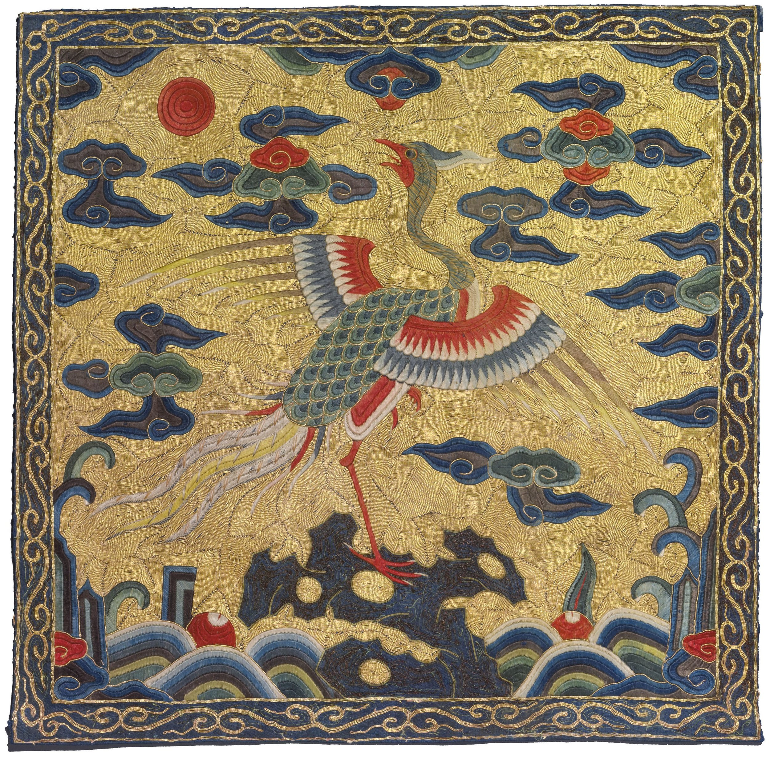 Golden pheasant badge (2nd civil rank) from the Kangxi period (1662-1722), on auction through Christie's.