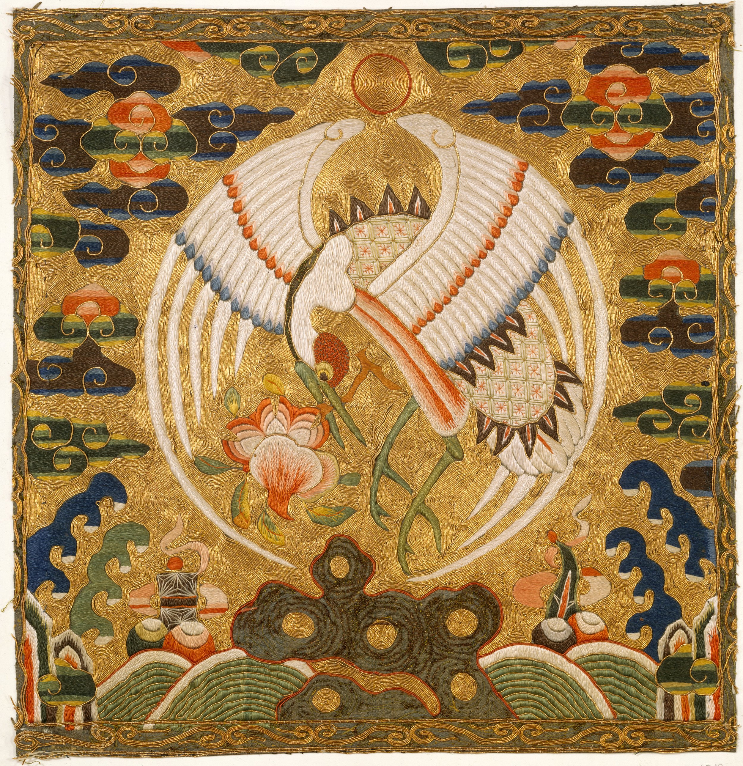 Crane badge (1st civil rank) from the Qing dynasty, late 17th–early 18th century. In the collection of the Met.