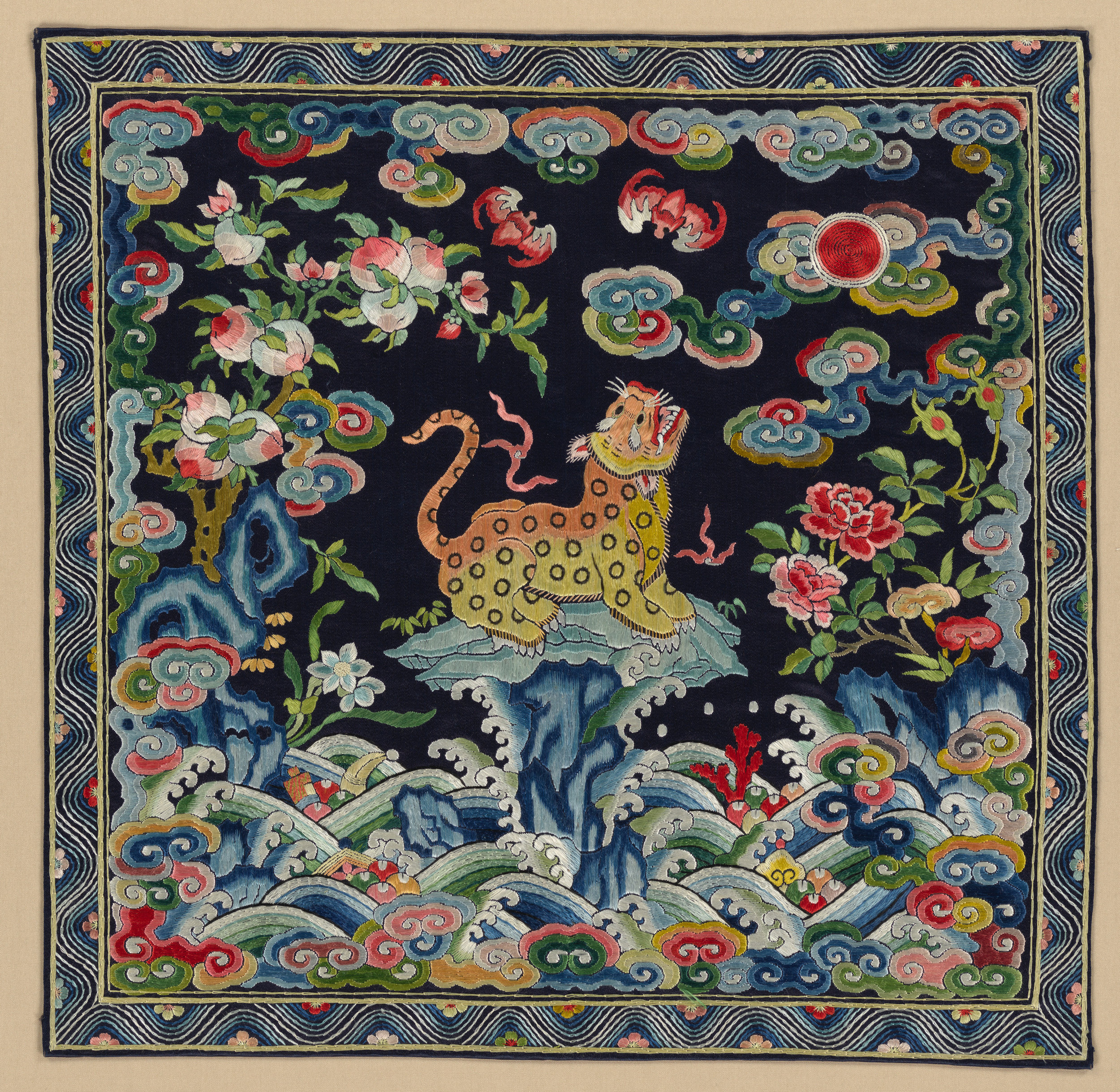 Leopard badge (3rd military rank) from the 19th century, Qing dynasty. Collection of the Met.