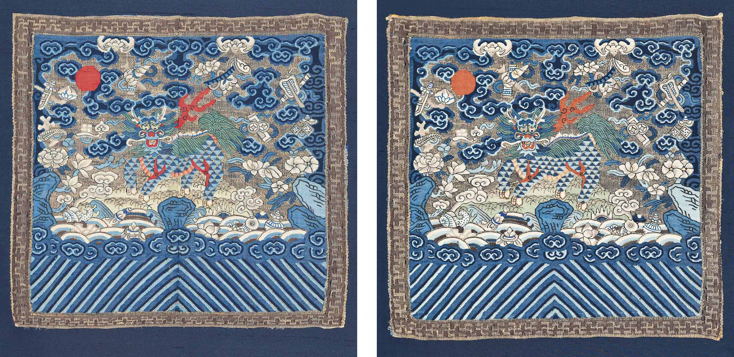 Pair of late 19th century Qing dynasty  qi lin  badges(1st military rank), on auction through Christie's.
