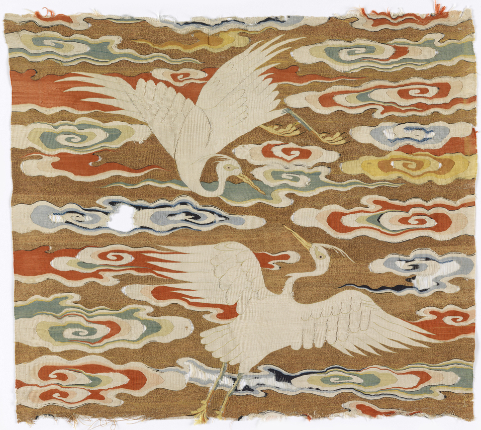 An egret rank badge (6th civil rank) from the Ming Dynasty (1368-1644), currently in the Cooper Hewitt's collection.