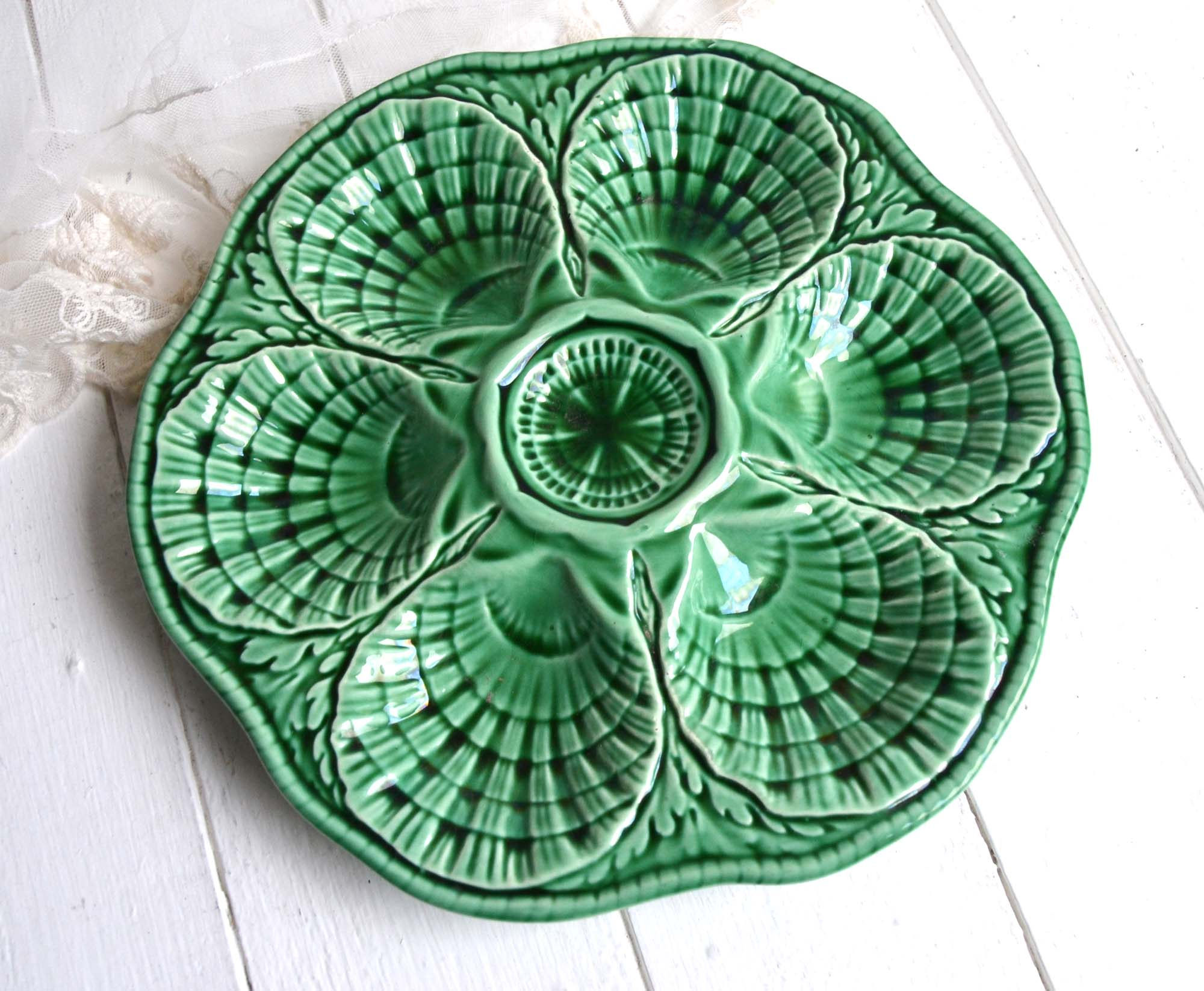 1930s vintage majolica produced by Serreguemines (France). Source:Shabby French Vintage on Etsy.