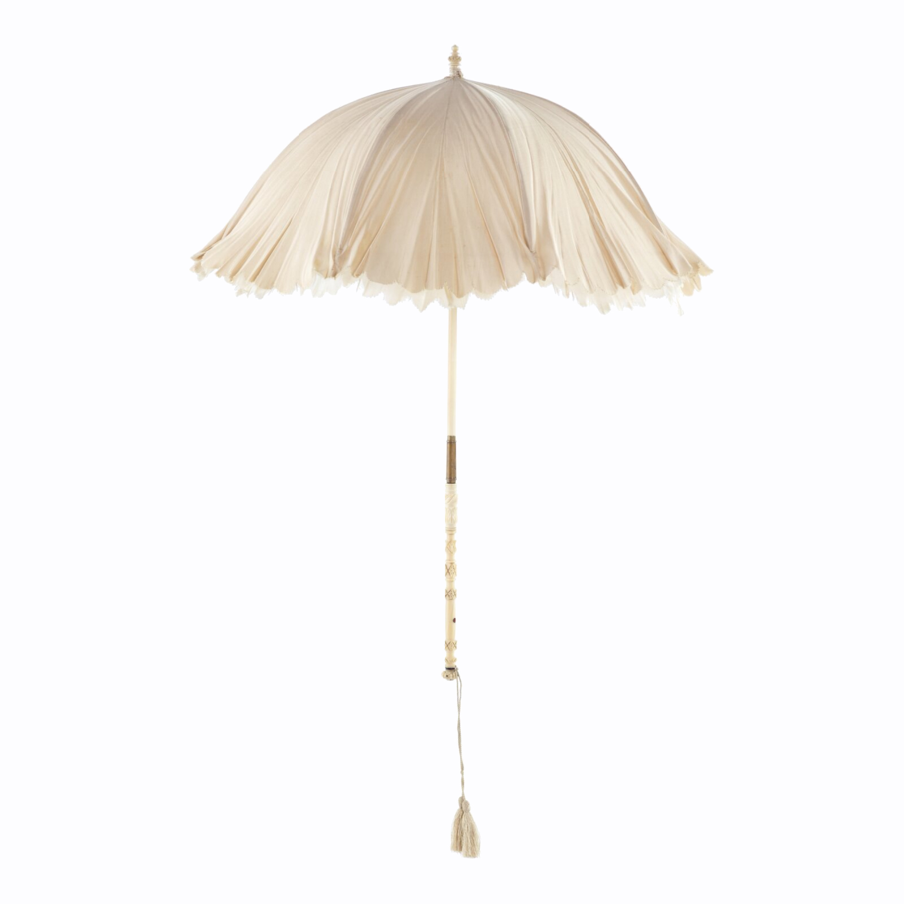 Parasol from bride's ensemble, ca. 1872.  From the Museum of New Zealand.