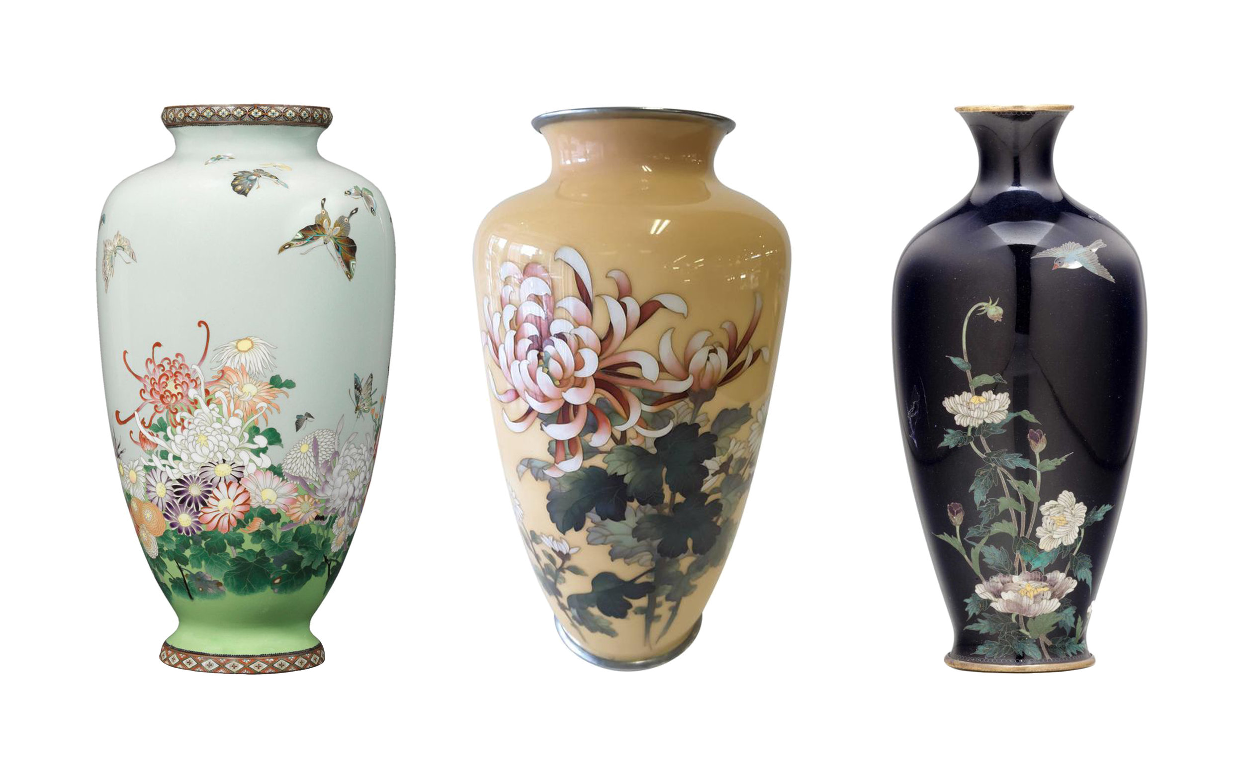 Three vases:  center signed Ando Jubei, available at 1st Dibs, right signed Kin'unken, available through Christie's.