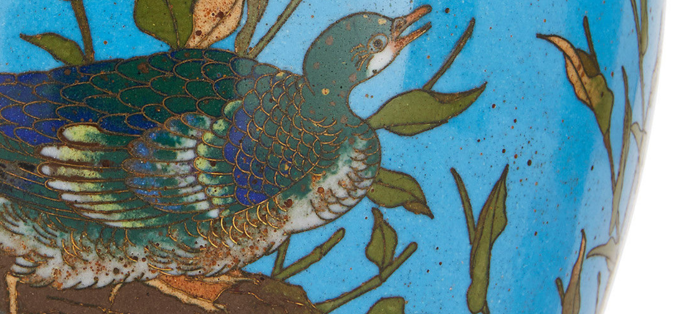 Detail of enamel and wire work, from OnlineGalleries.com