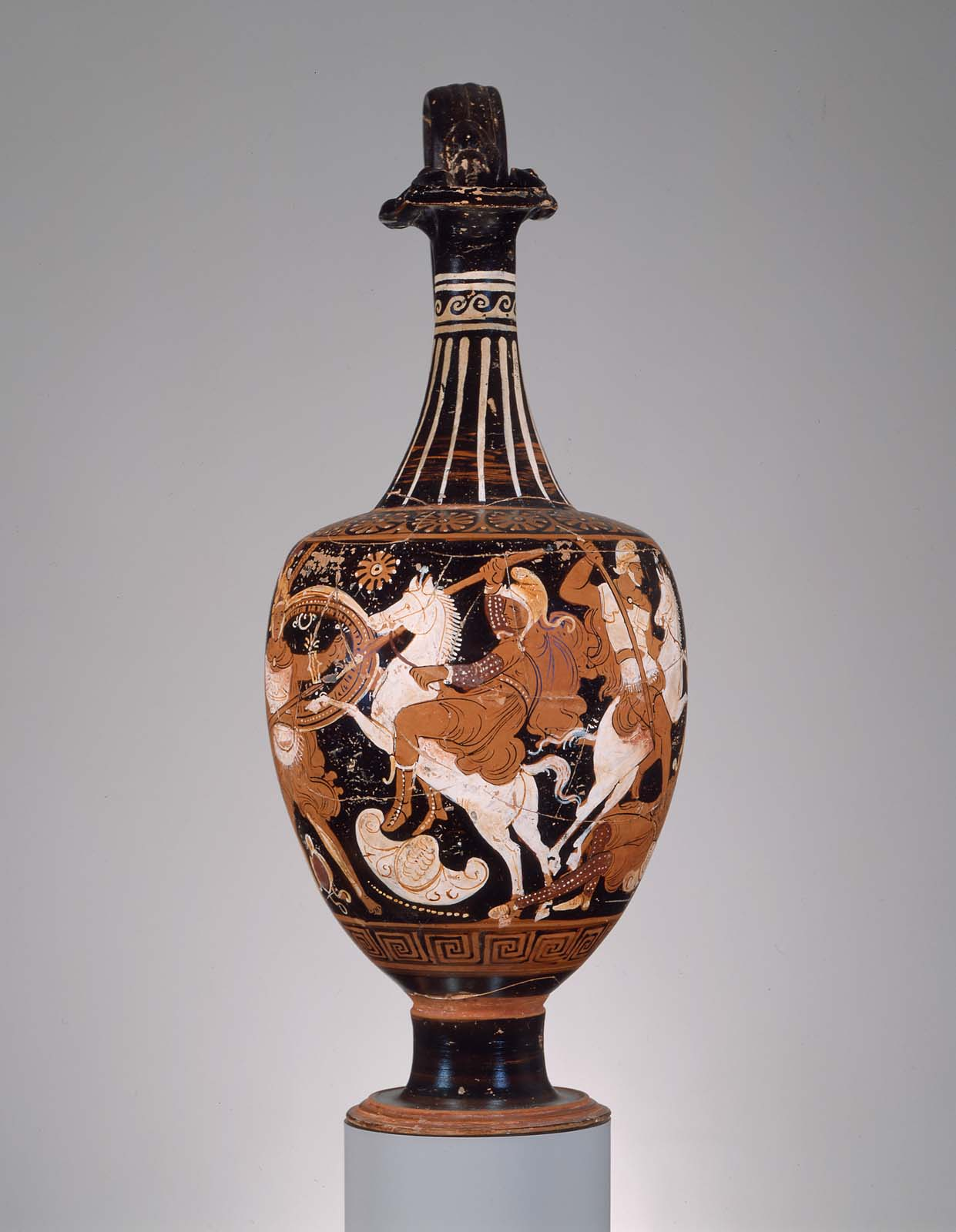 Oenochoe portraying a battle between the Greeks and Amazons. From the Hellenistic Period, about 320-310 BC, collection of the Museum of Fine Arts Boston.