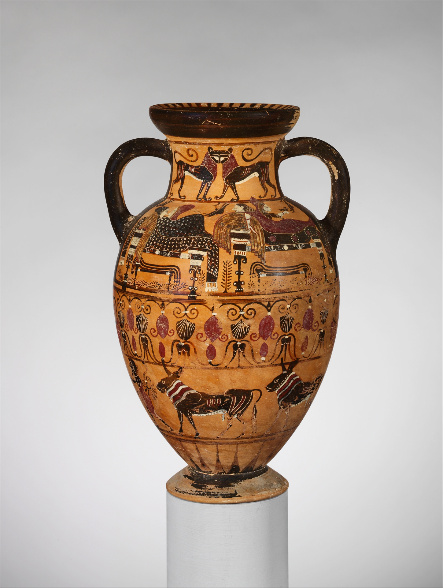Etruscan Neck-Amphora, circa 540 BCE. Part of the collection of the Metropolitan Museum of Art.