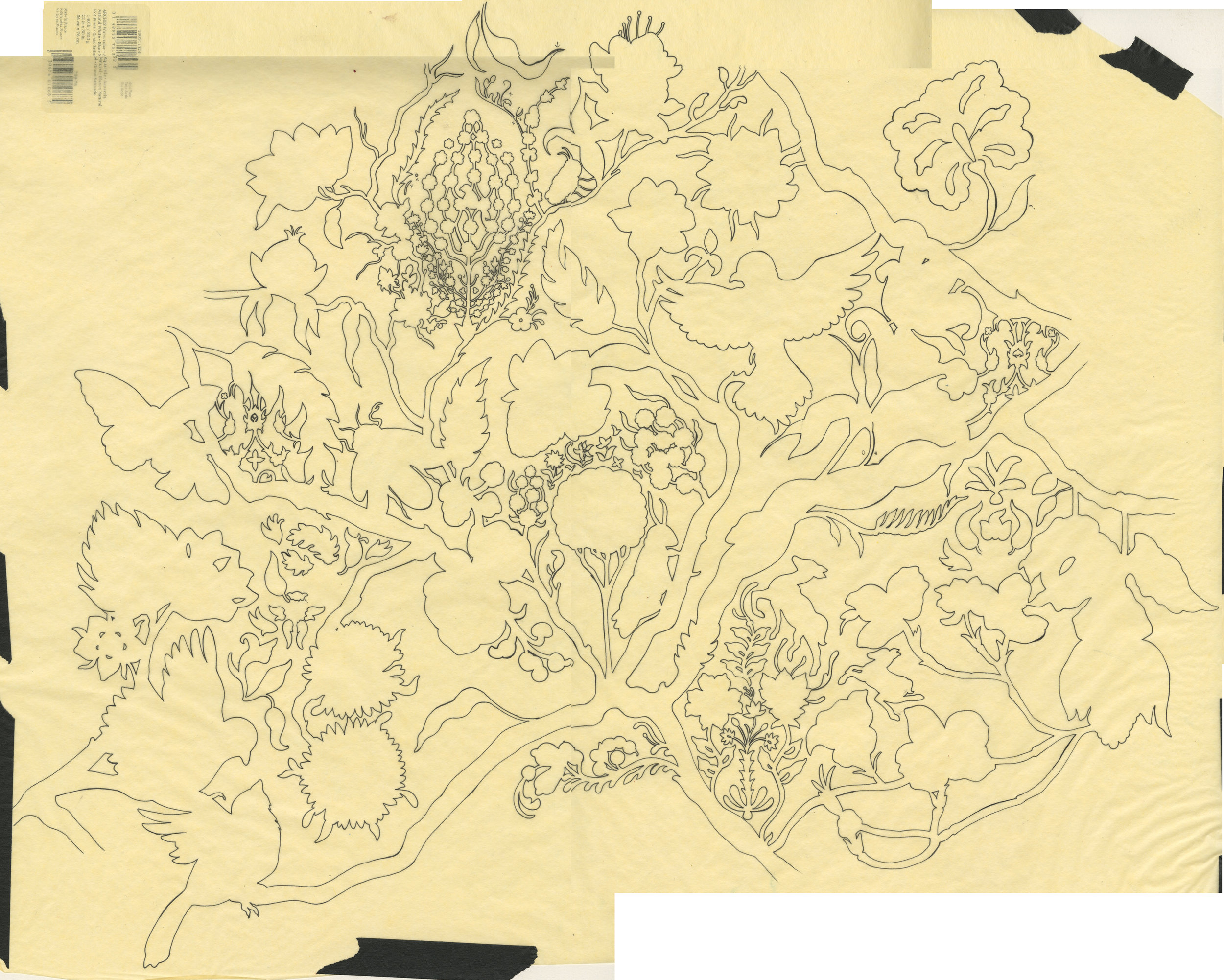 The completed outline tracing, in the process of being merged on Photoshop after having been scanned into the computer in pieces.