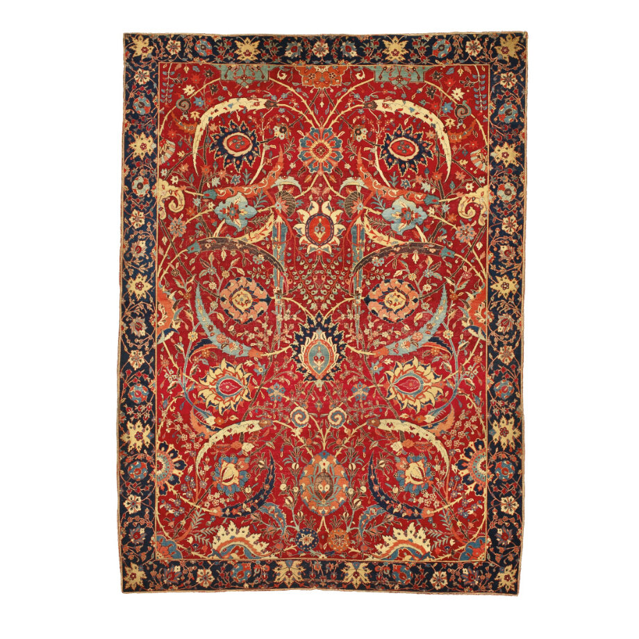 A Sickle-Leaf, vine scroll and palmette 'Vase'-technique carpet, probably Kirman, Southeast Persia. First half 17th century. From Sotheby's.