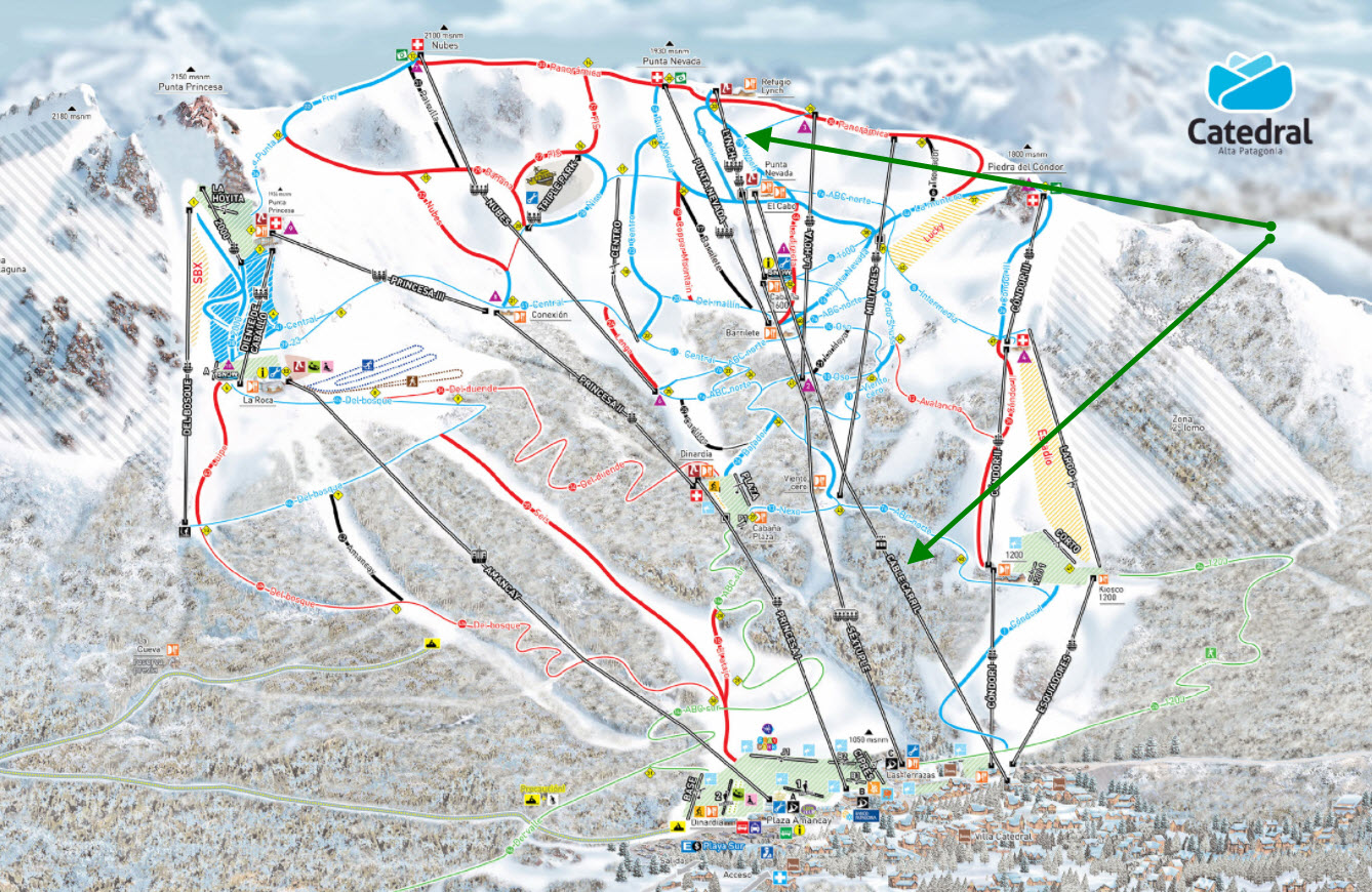 Use Cables Carril and Lynch to get to the top (green arrows). This map is based off of the official downloadable map:  https://www.catedralaltapatagonia.com/mapa_pistas.php . We hope to encourage tourism to Cerro Catedral given its beauty and splendor.