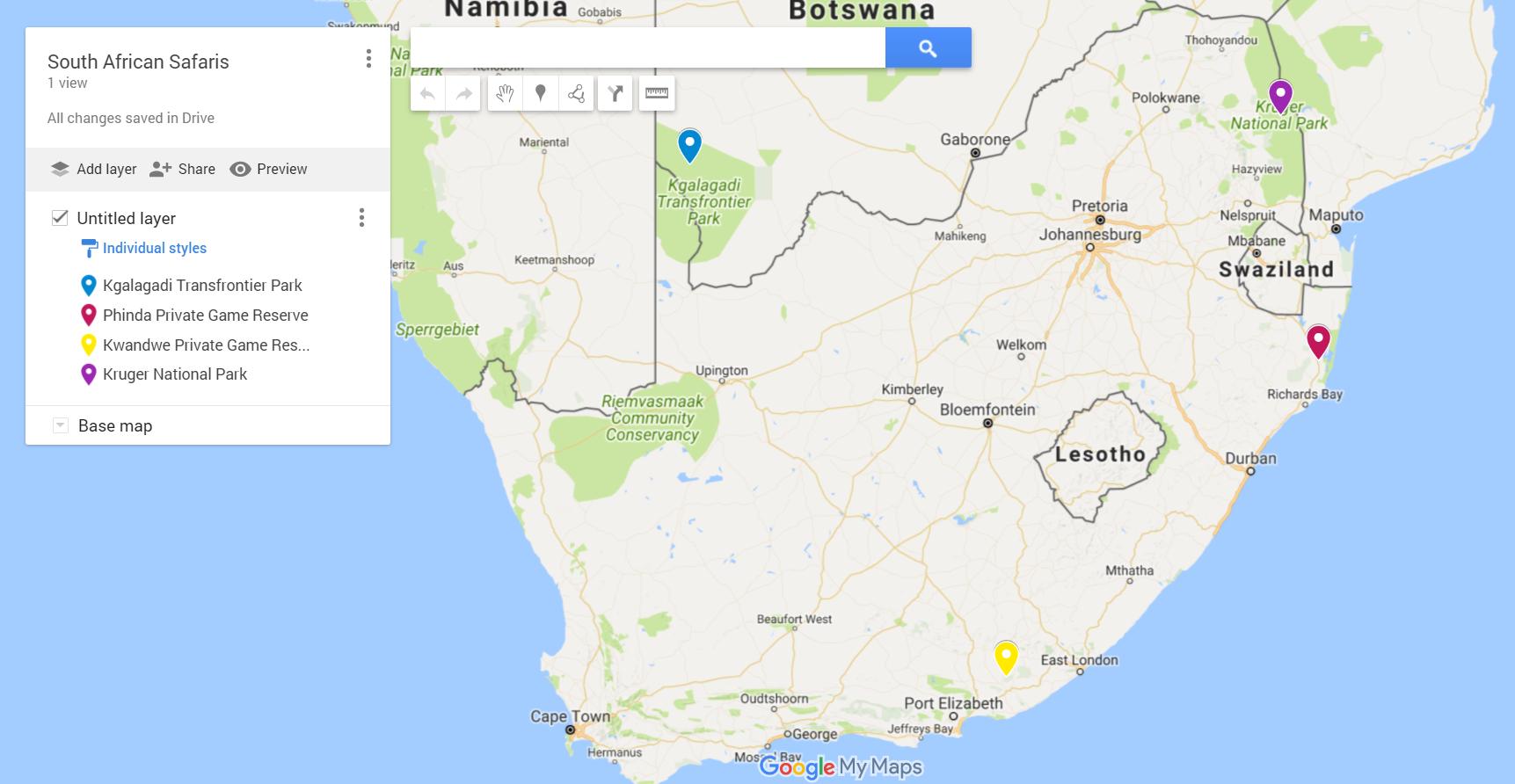 Safari Locations