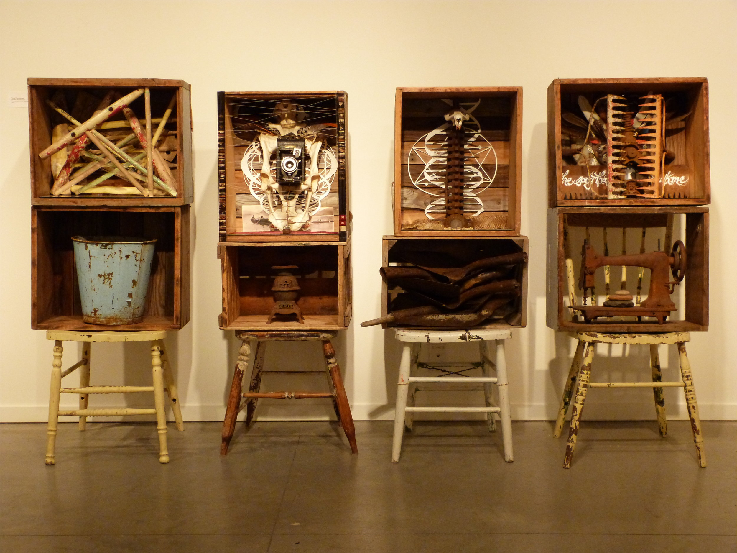 Witness Deconstructed  2011 found and natural objects, paper, beehive boxes, chairs