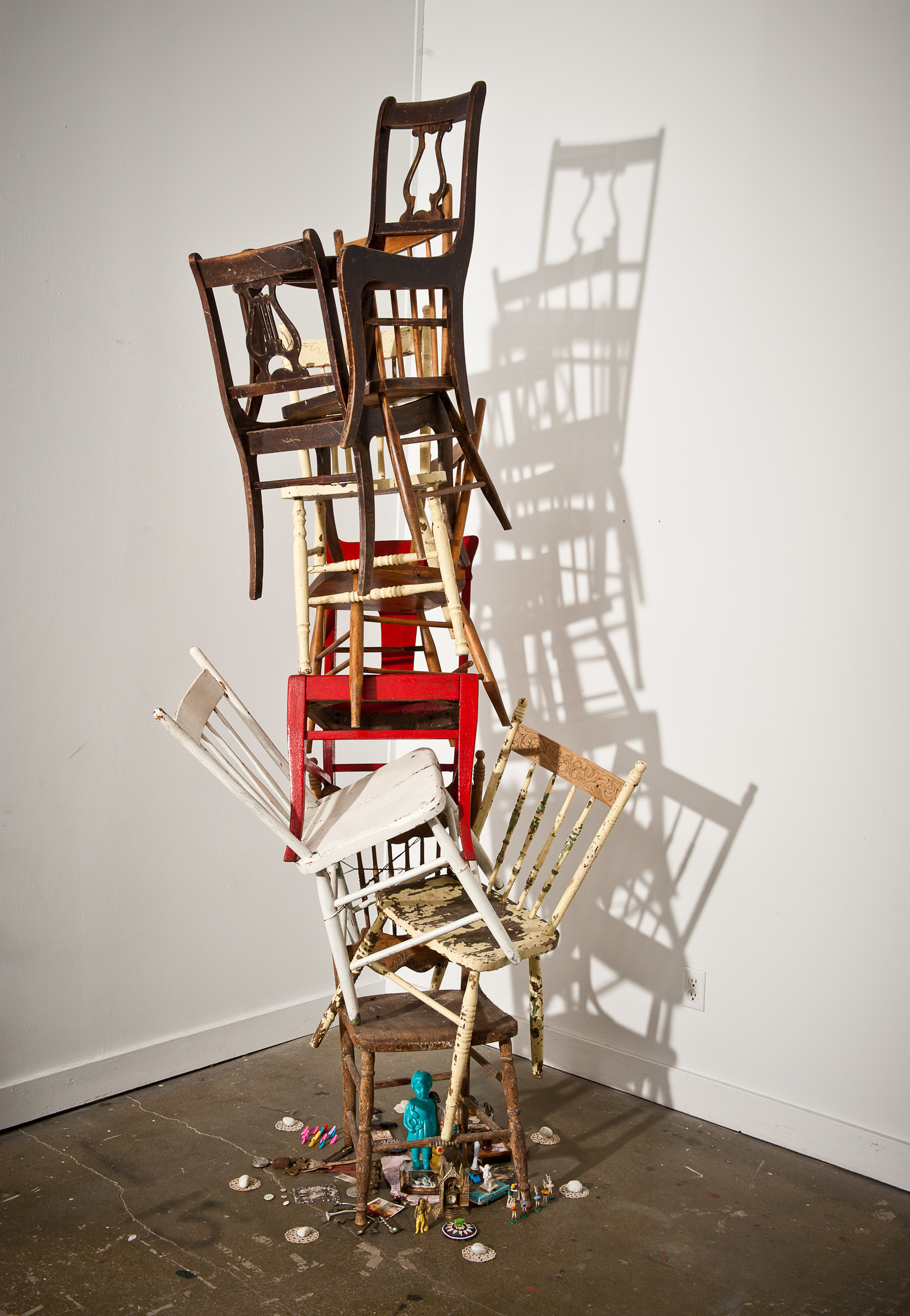 Time  2012 chairs, found objects 150 x 24 inches