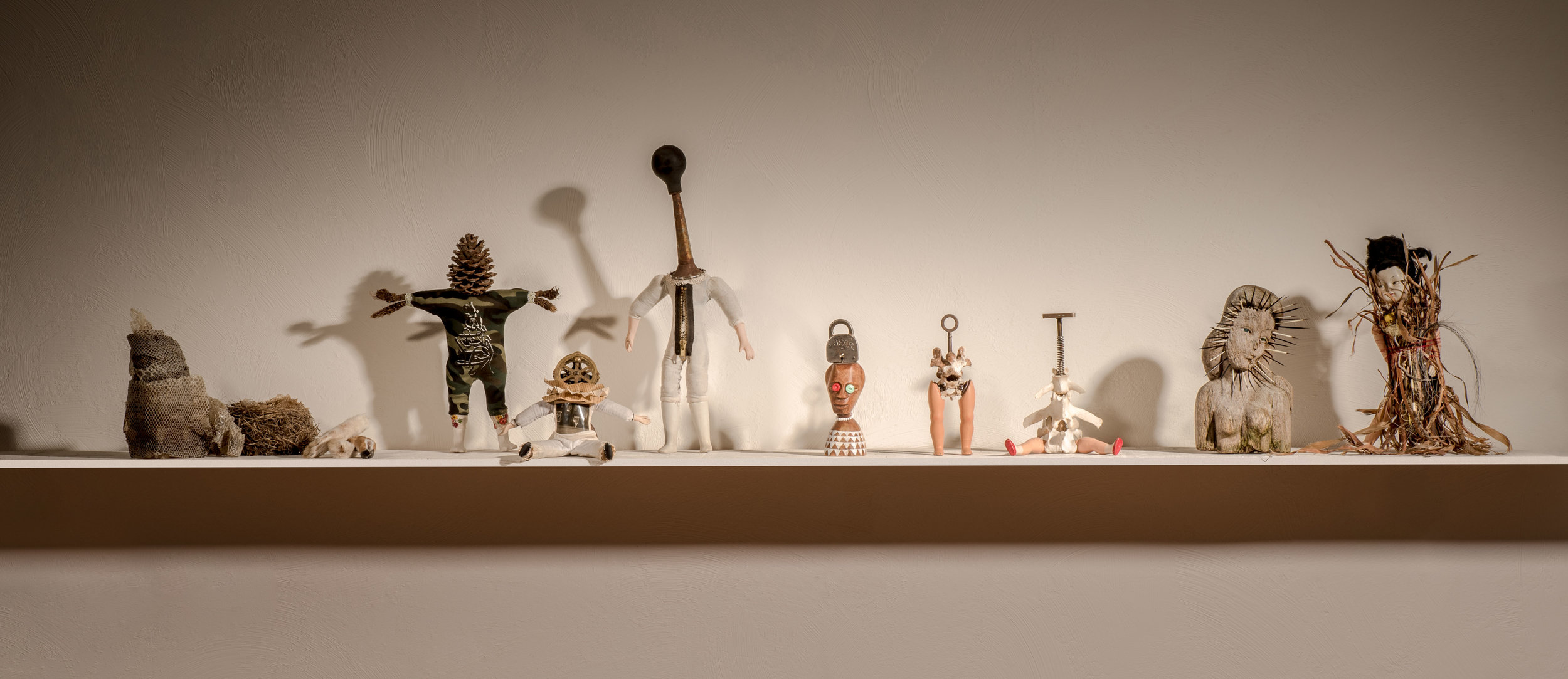 """Anthropomorphs  2016 found, natural objects, doll parts, animal bones 27"""" x 7 """"x 6 """""""