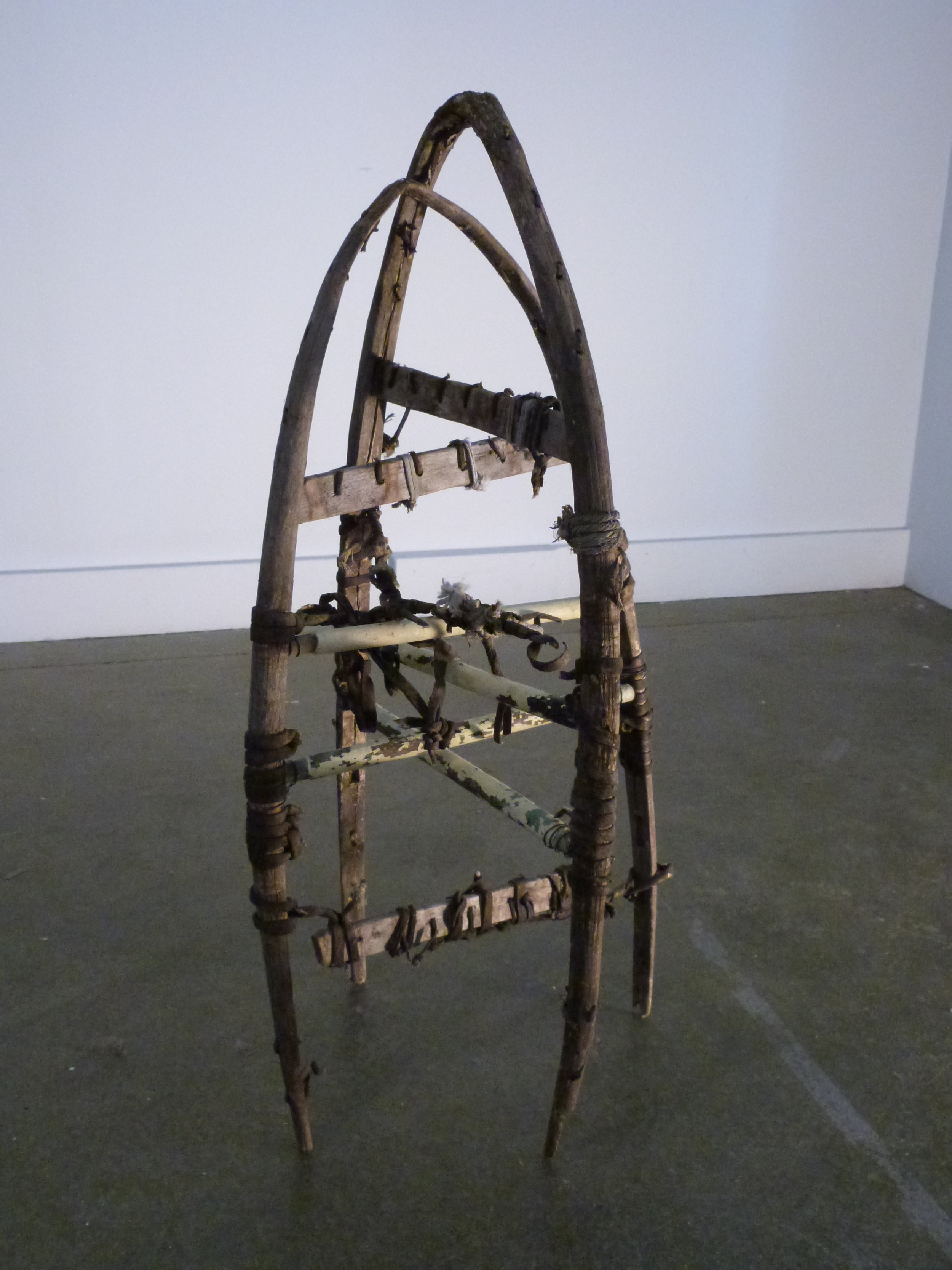 Sense of Direction  2011 vintage snow shoes, chair parts 24x 12 inches