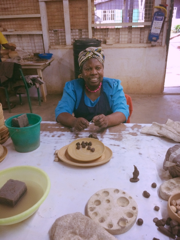 She's been working at the factory making beads since they opened, more than 40 years ago!
