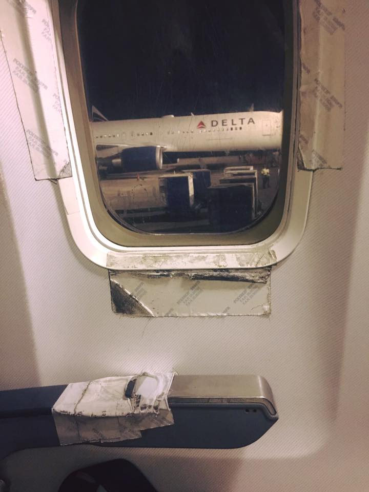 I'm no aircraft mechanic, but I thought airplane windows were supposed to be air-tight?  Photo courtesy of Khaled El-Hennawy, taken January 2017.
