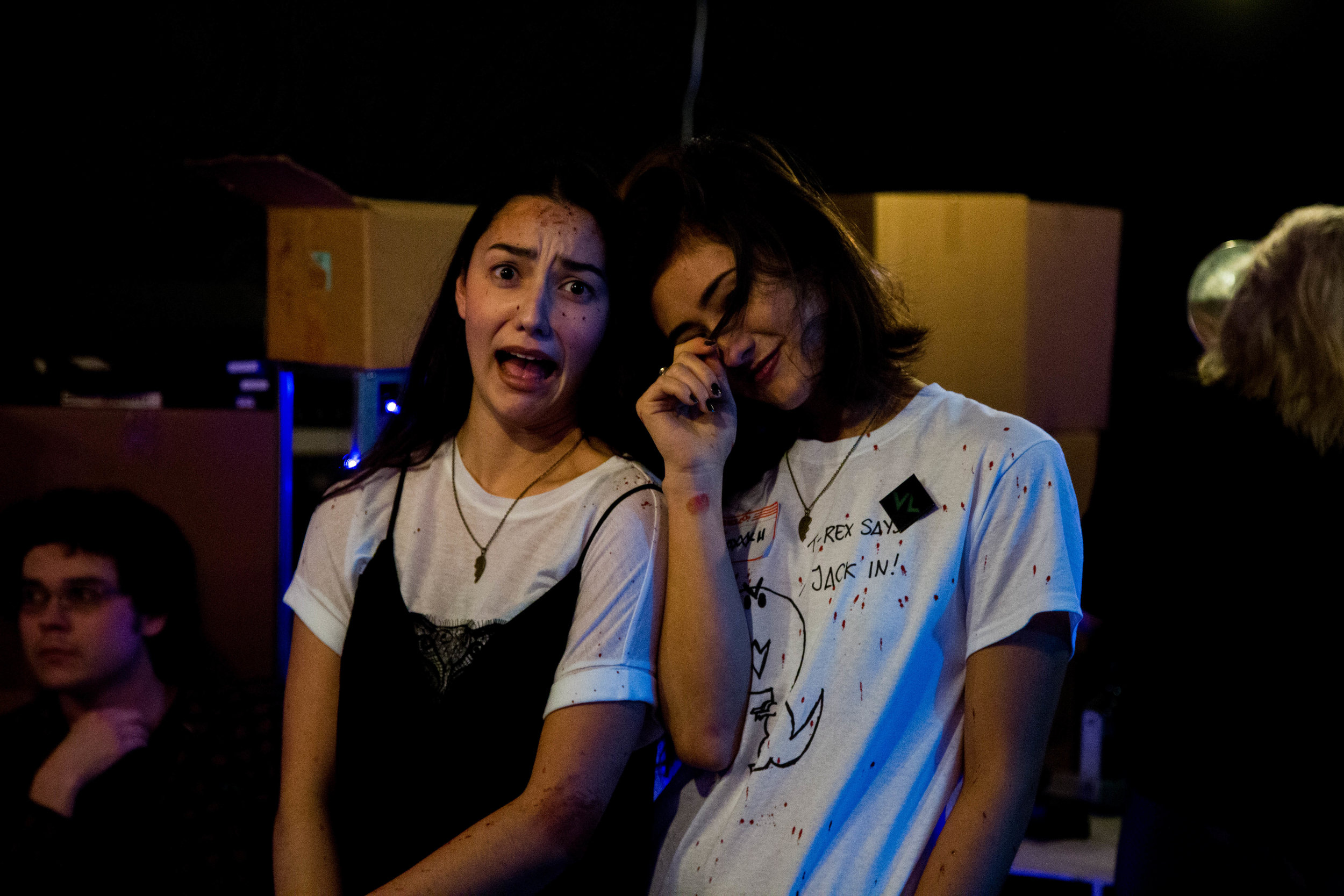Stars Katie Hayashida and Nalani Weston Wakita fooling around on set.