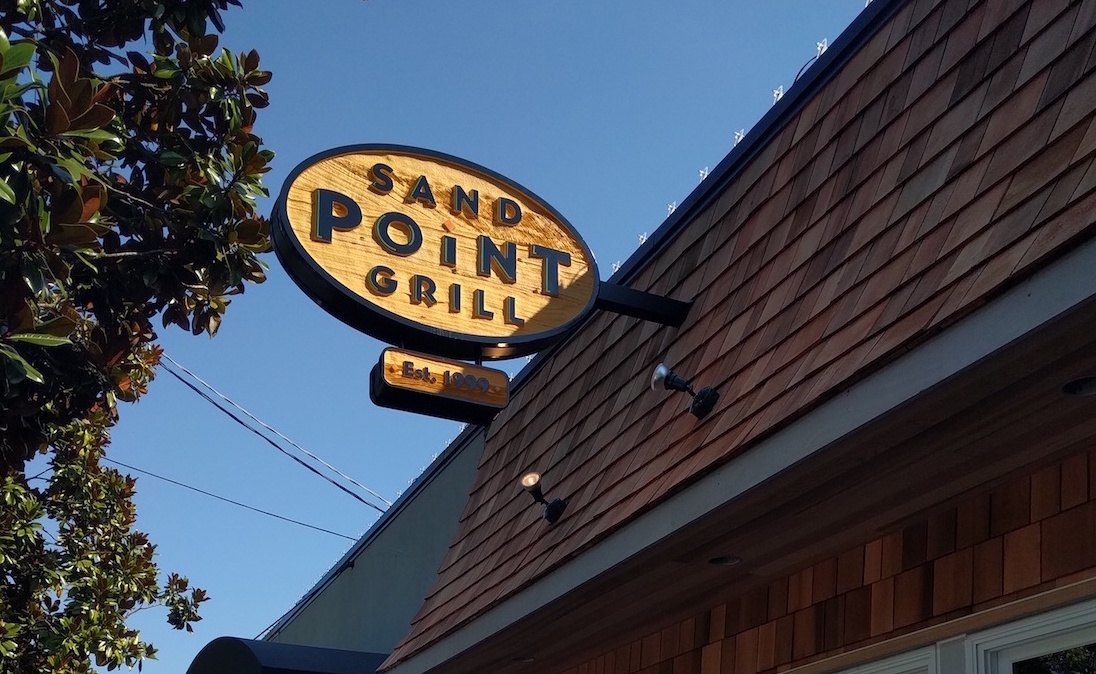 Sand Point Grill: Sandblasted Cedar Sign