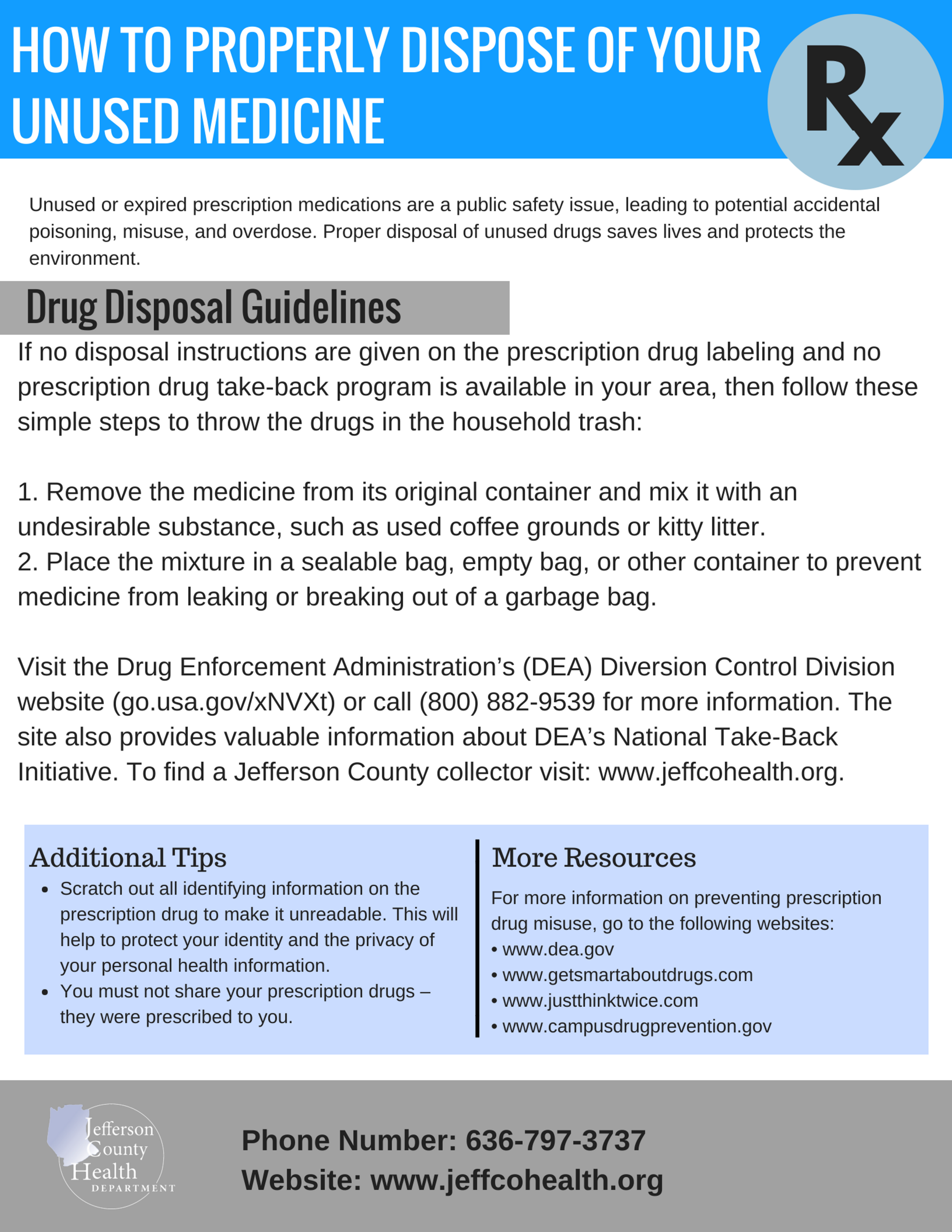 Proper Medication Disposal - The above resource shows how to properly dispose of any unwanted medication if a drop box location is not accessible. Jefferson County has a number of permanent drop boxes that take medication annonymously and dispose of them safely. Please see next resource for more information on locations and hours.