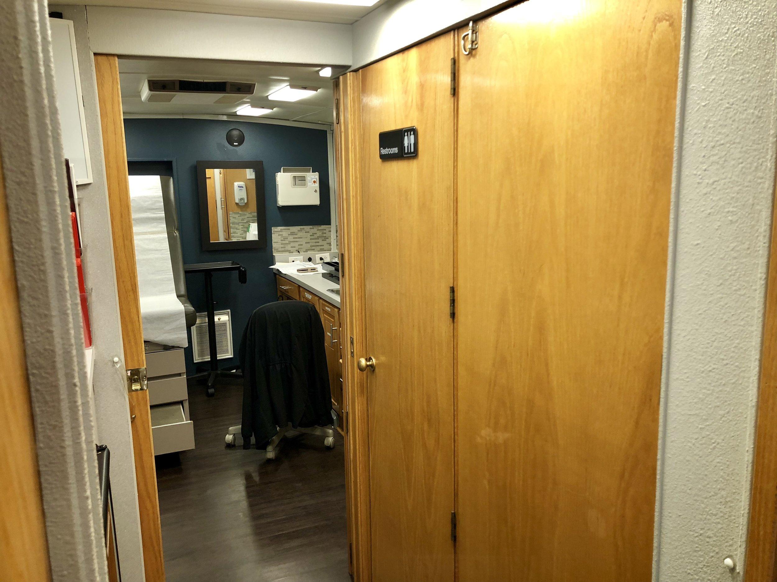 Hallway into back exam room