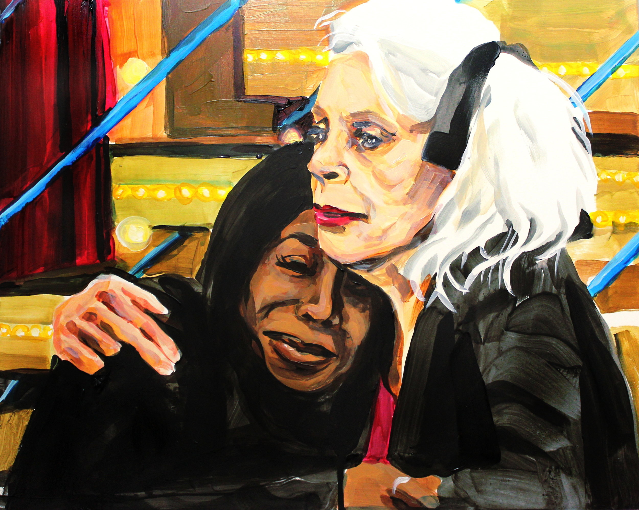 Laura Collins Tiffany Pollard Being Comforted by Angie Bowie After David's Death 16x20 acrylic on panel 2018.JPG