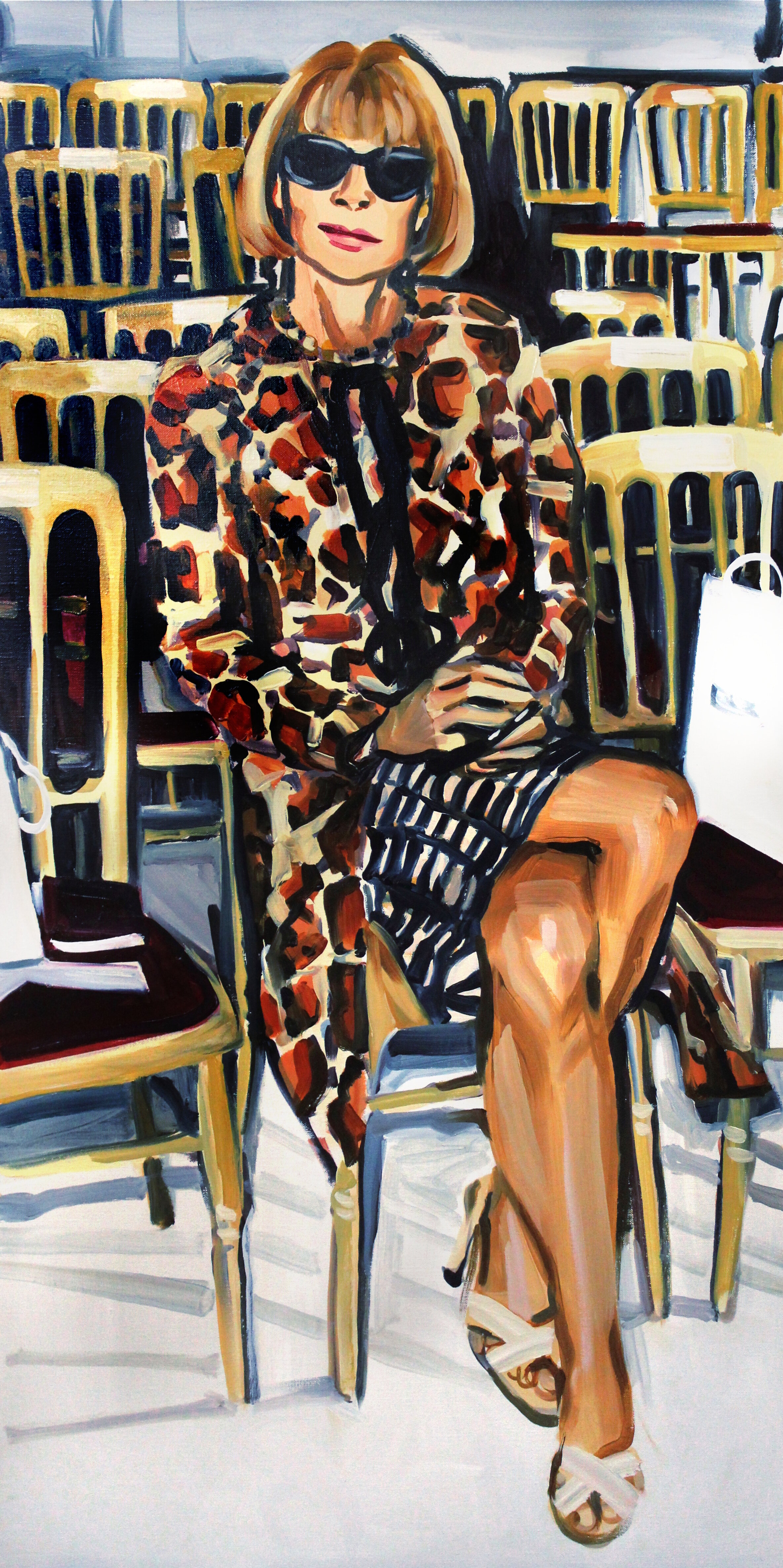 Anna Wintour Double Crossing Her Legs - This series by Laura Collins explored the front row behavior of Anna Wintour. In a narrow gallery on the Lower East Side you had the opportunity to walk the cat walk (made of cat pictures) and hung low on either side of you were life size oil paintings, hung low, of Anna Wintour, judging you. Models only!Read about it in the Daily Beast.
