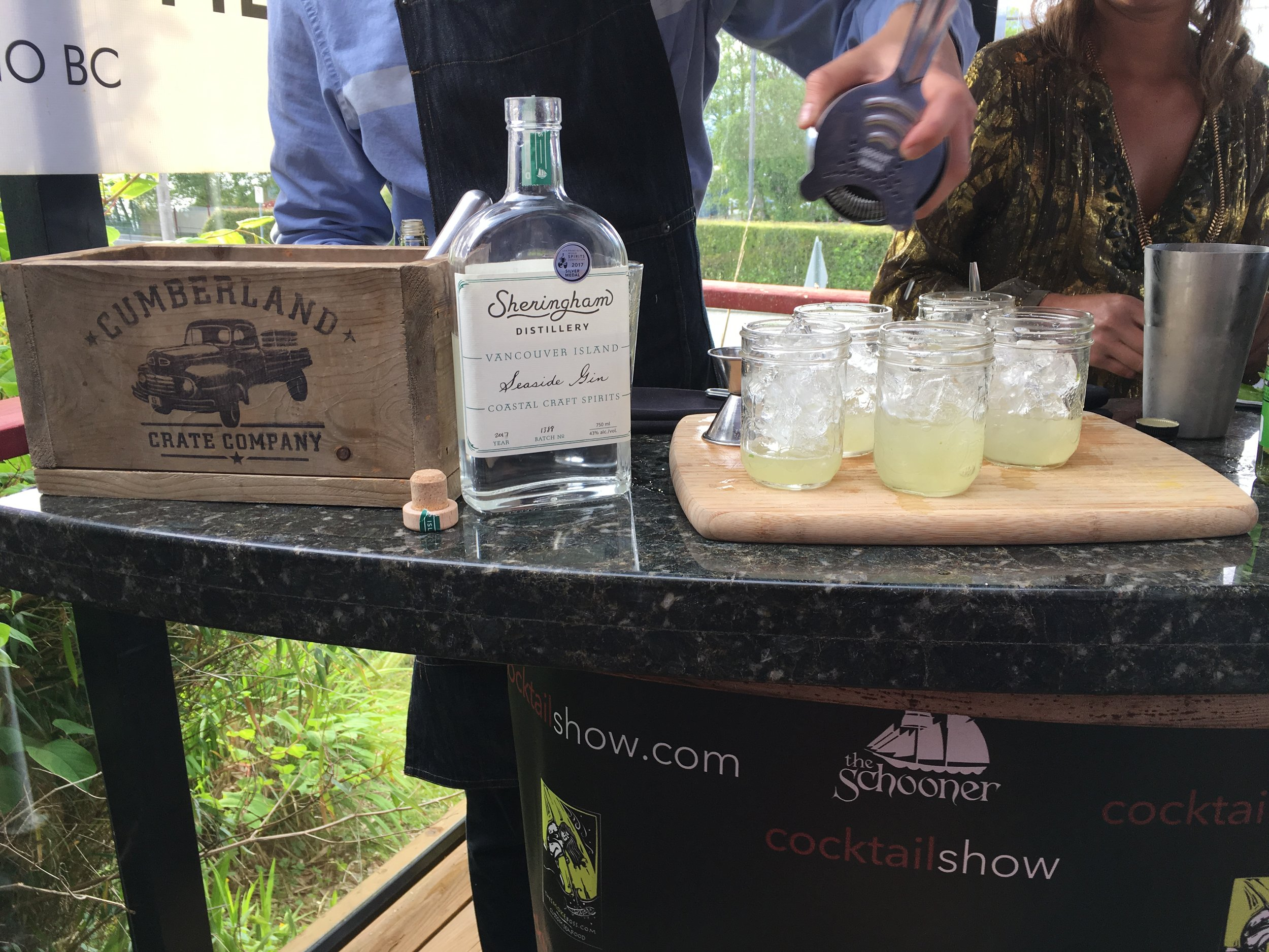 "Our ""Seaside Sorrel"" cocktails being poured"