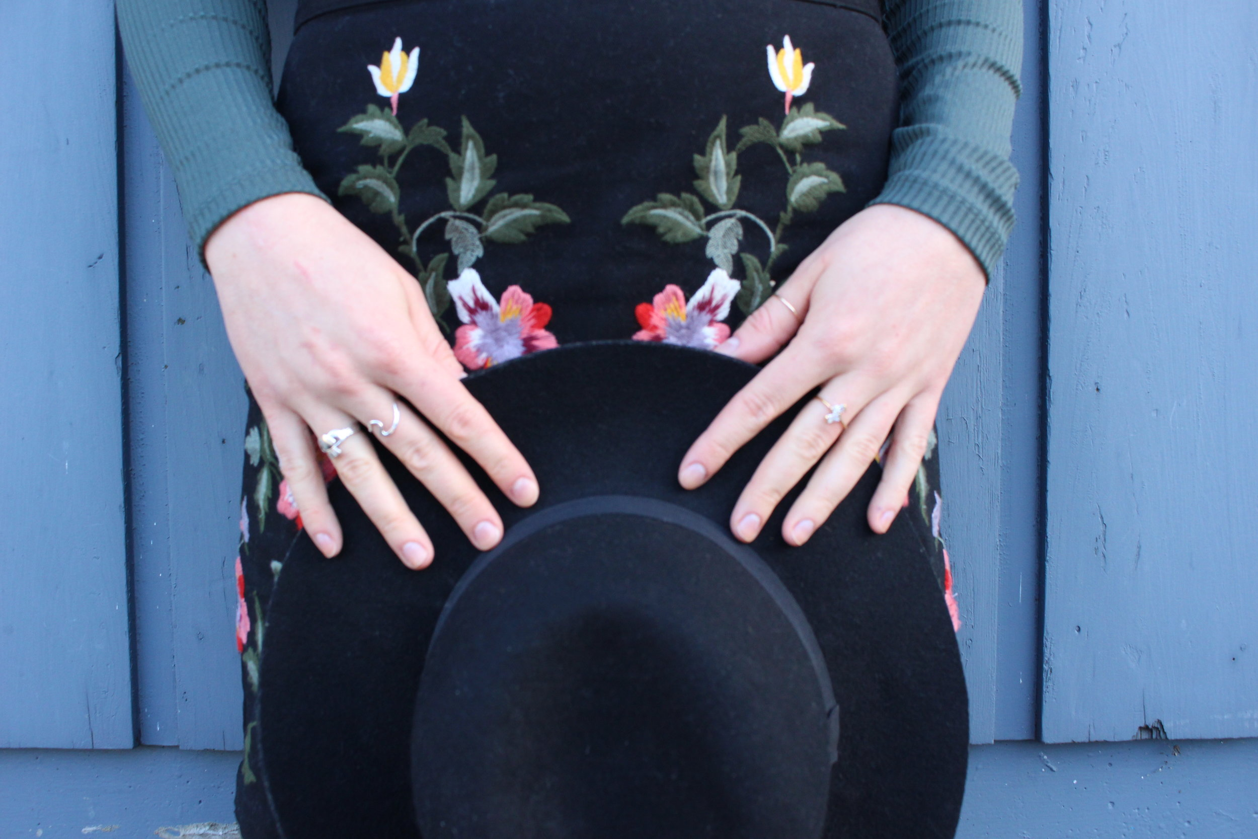 Details: Claddagh ring,    Joleen Sohier    wave ring,    Little Gold    ring, Etsy ring, Black Wool Hat