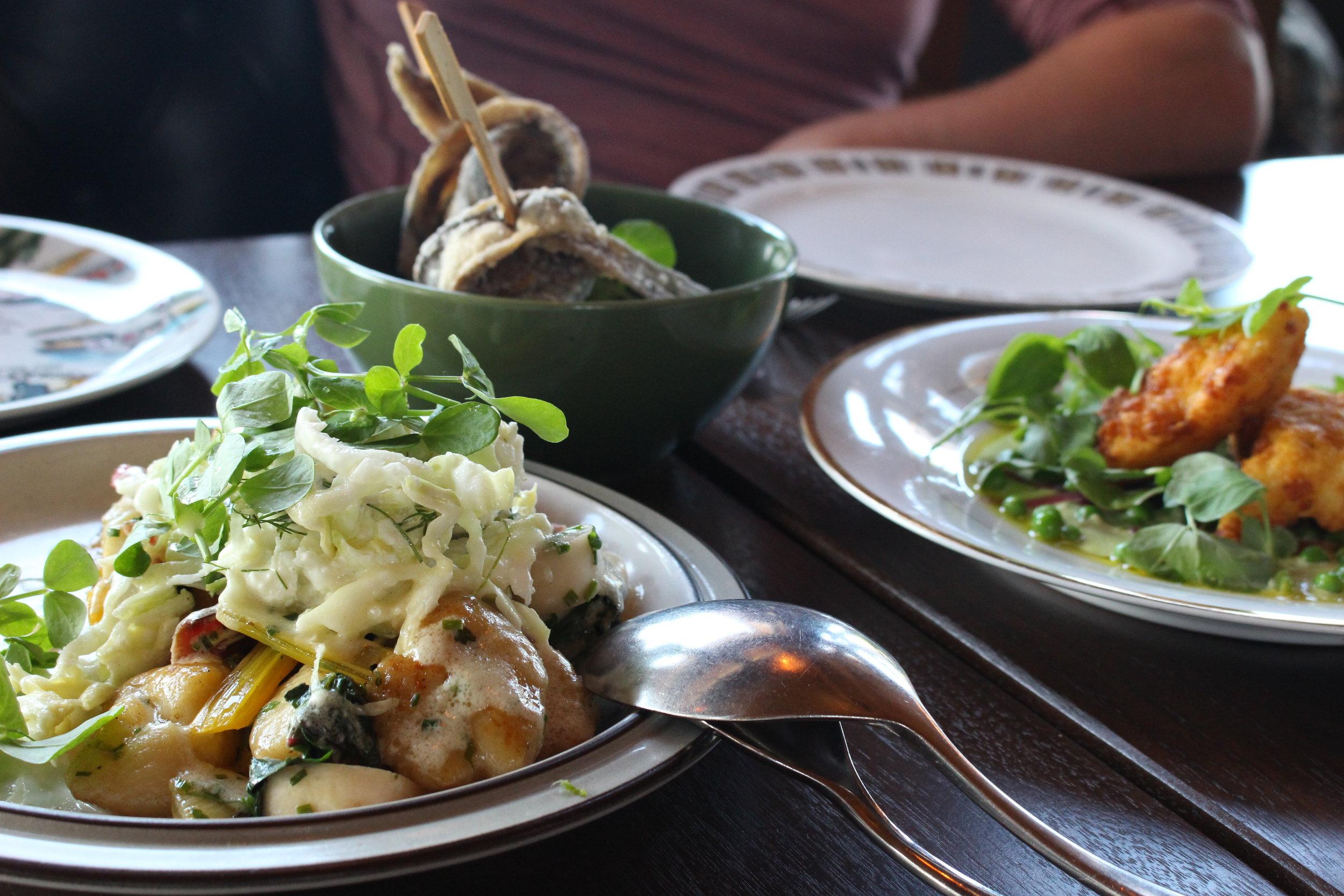 Fried BC Herring, Green Soul, Corn Fried Cod Cheeks