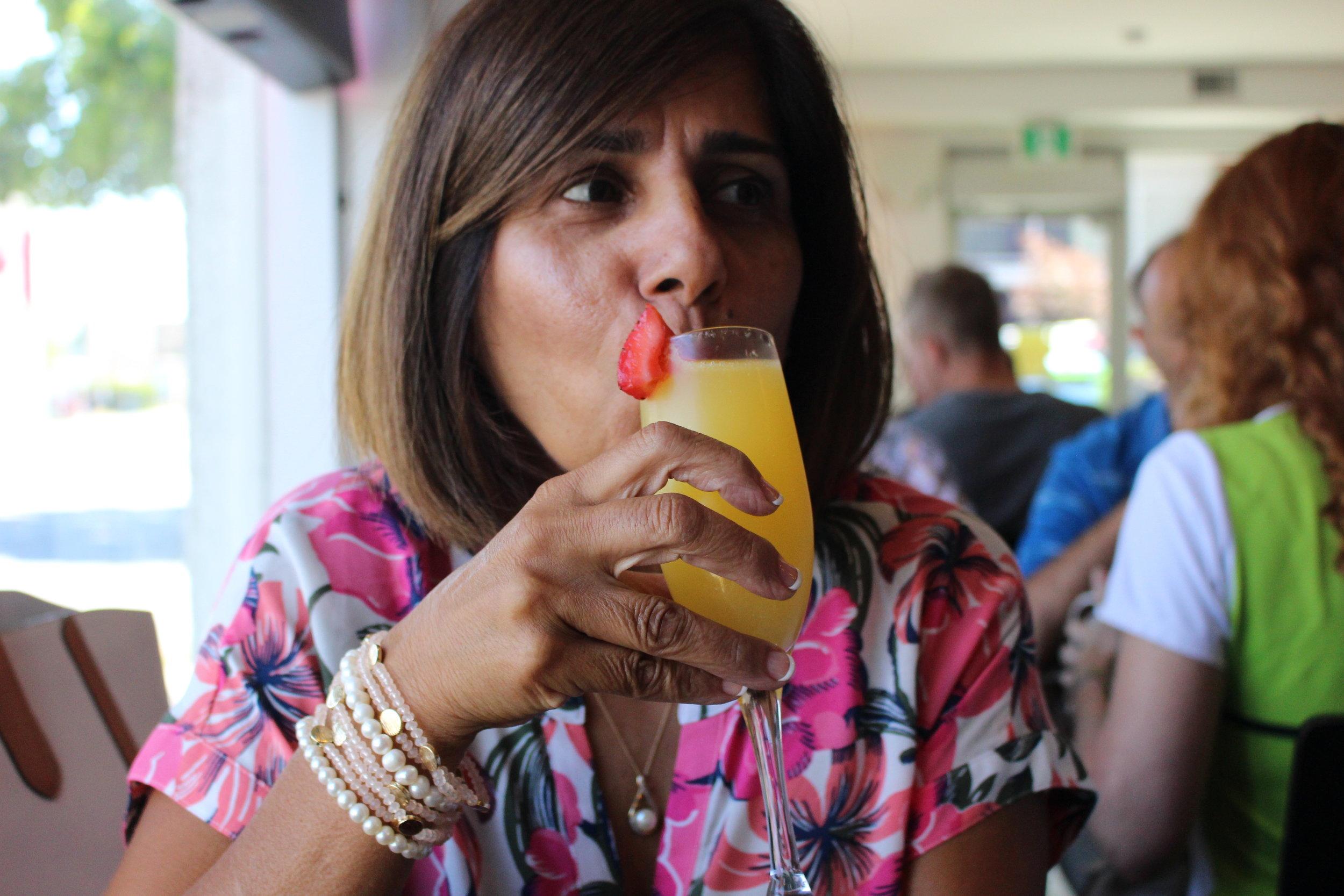 Deb enjoying her Birthday mimosa!