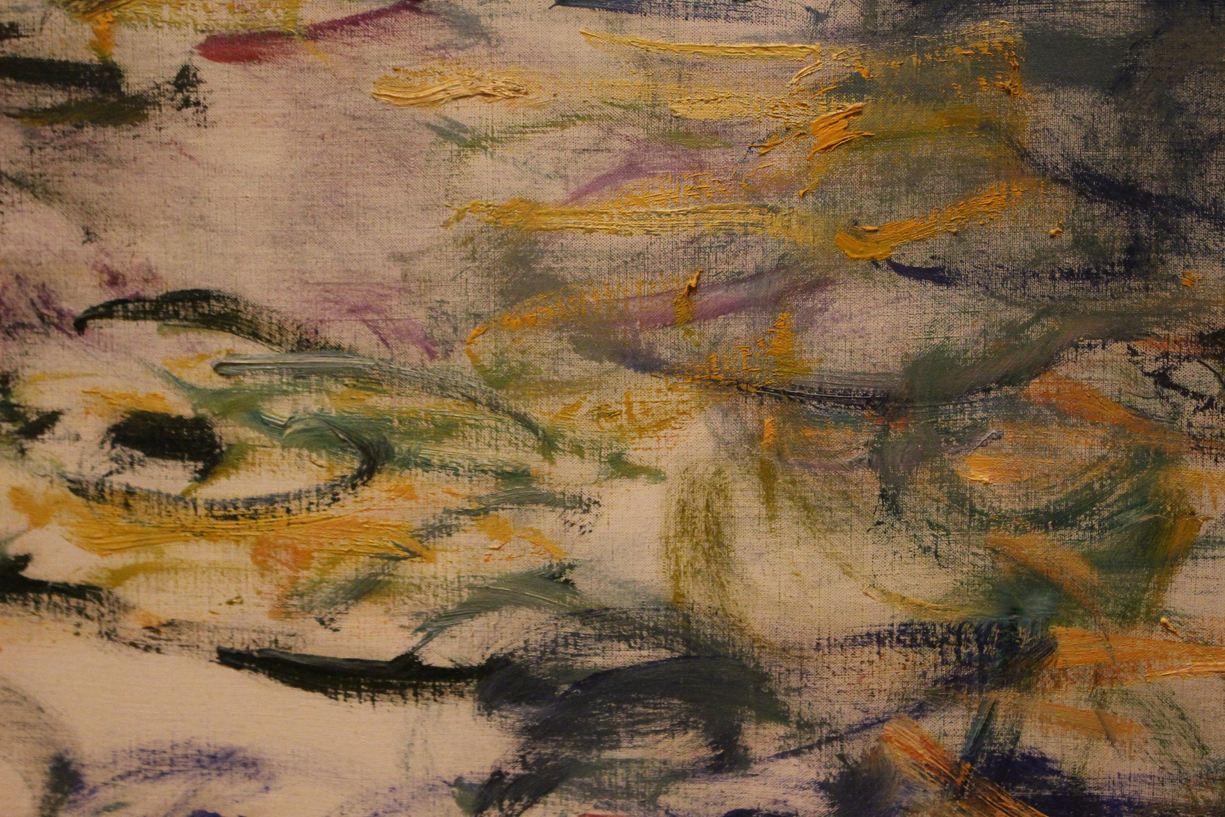 A close-up of the brushstrokes in one of his more abstract paintings