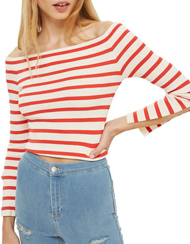 Topshop Bardot Split Sleeve Top
