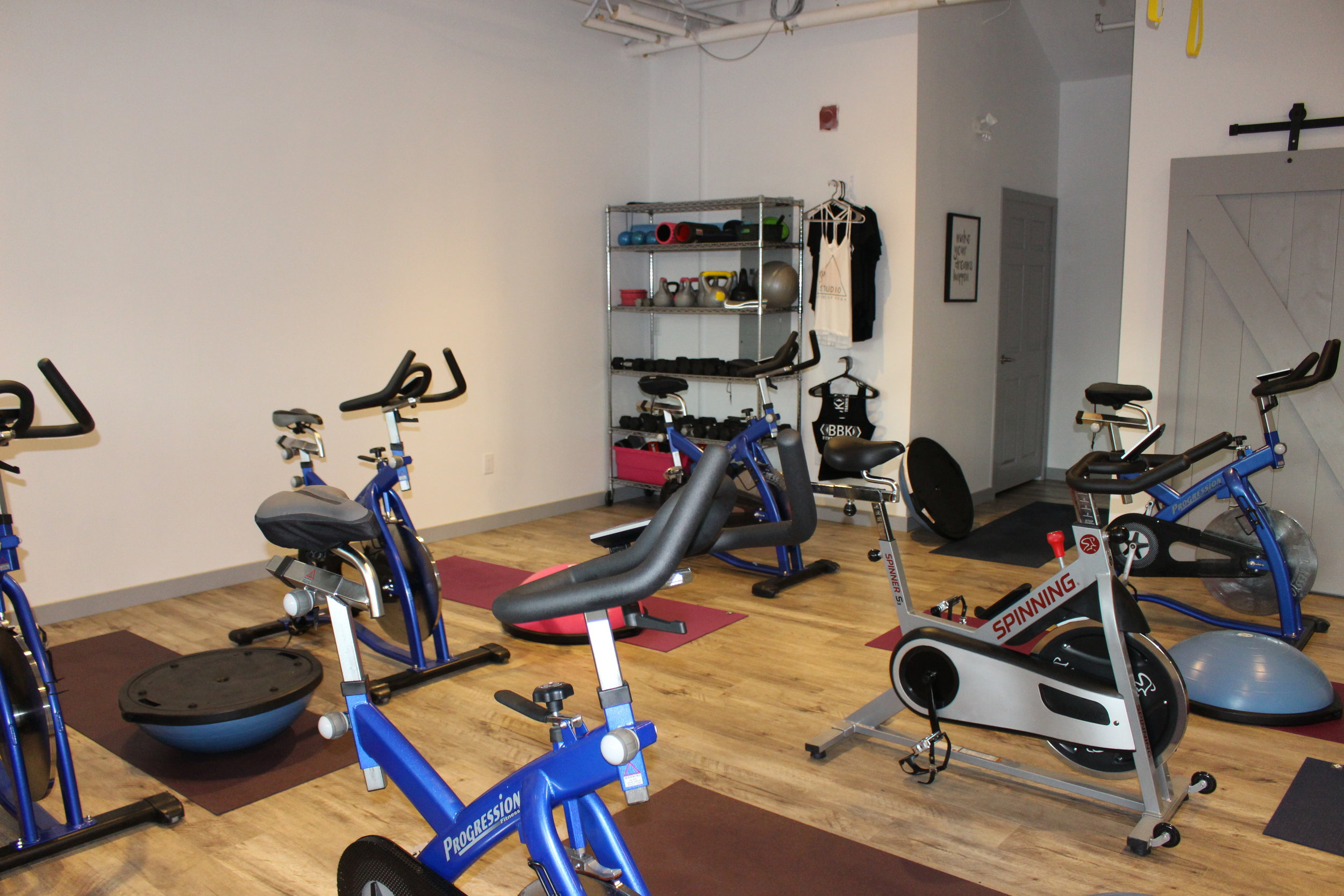 The set up for Spinfit, my favourite class offered by Kara