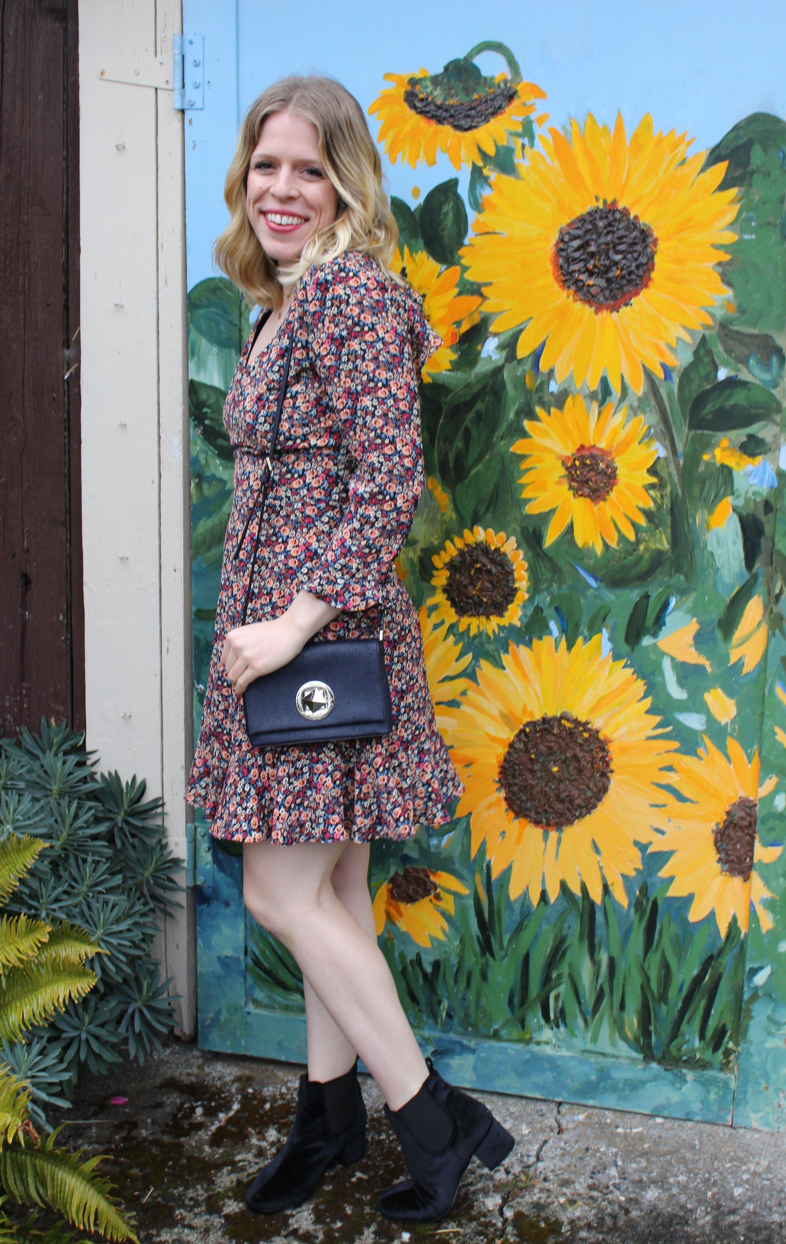 Topshop    Floral Dress,    Office    Navy Velvet Booties,    Kate Spade New York    Navy Purse