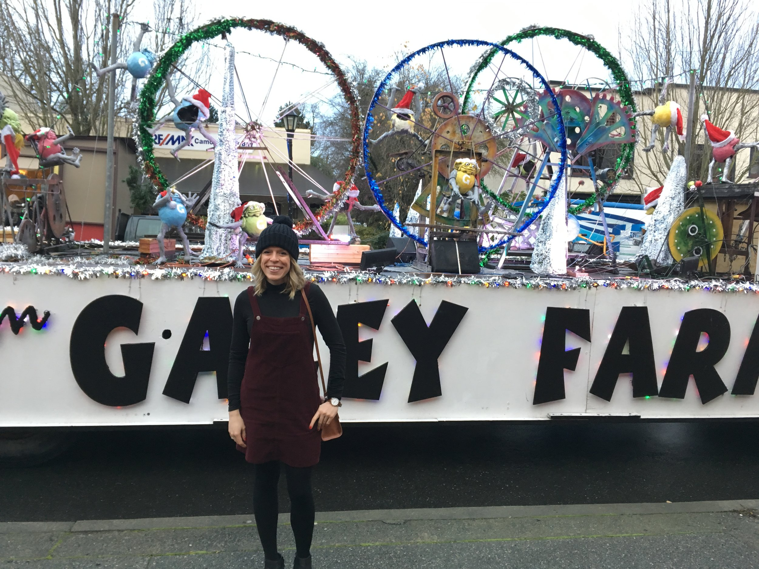 In front of the Galley Farm Float (an annual tradition)