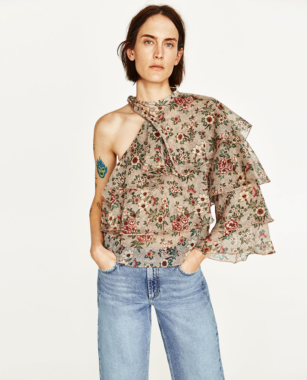 Check out this option from  Zara , 'Asymmetric Printed Top' $45.90